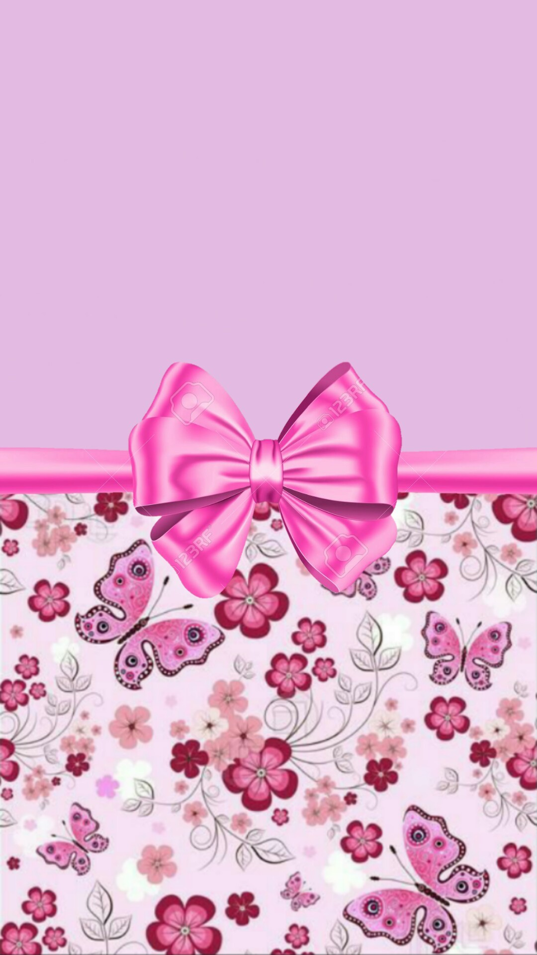 1080x1920 Purple and pink with flowers and bow