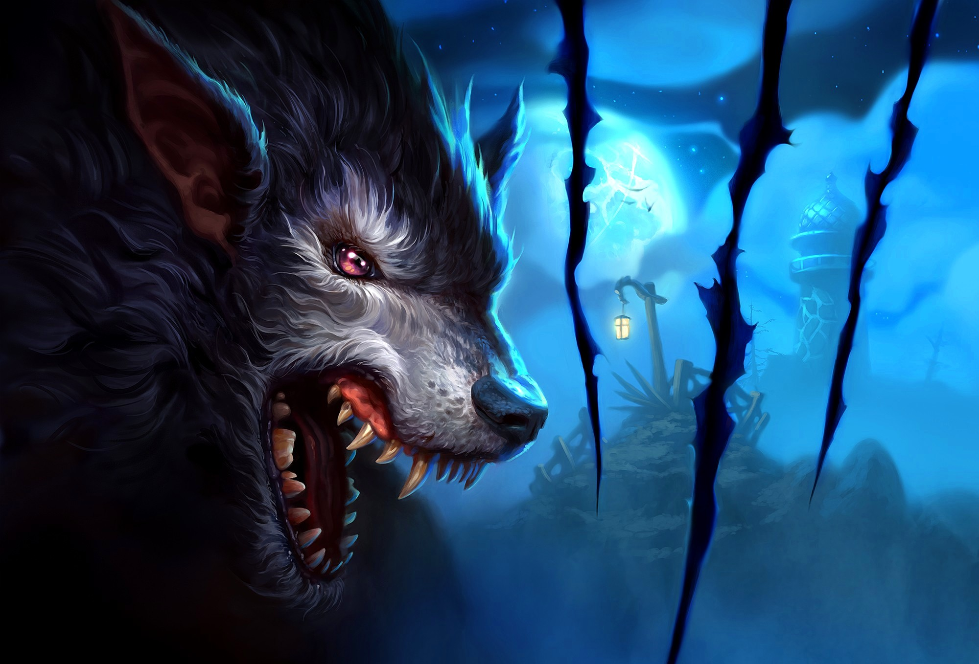 2333x1700 Awesome Neon Wolf Wallpapers