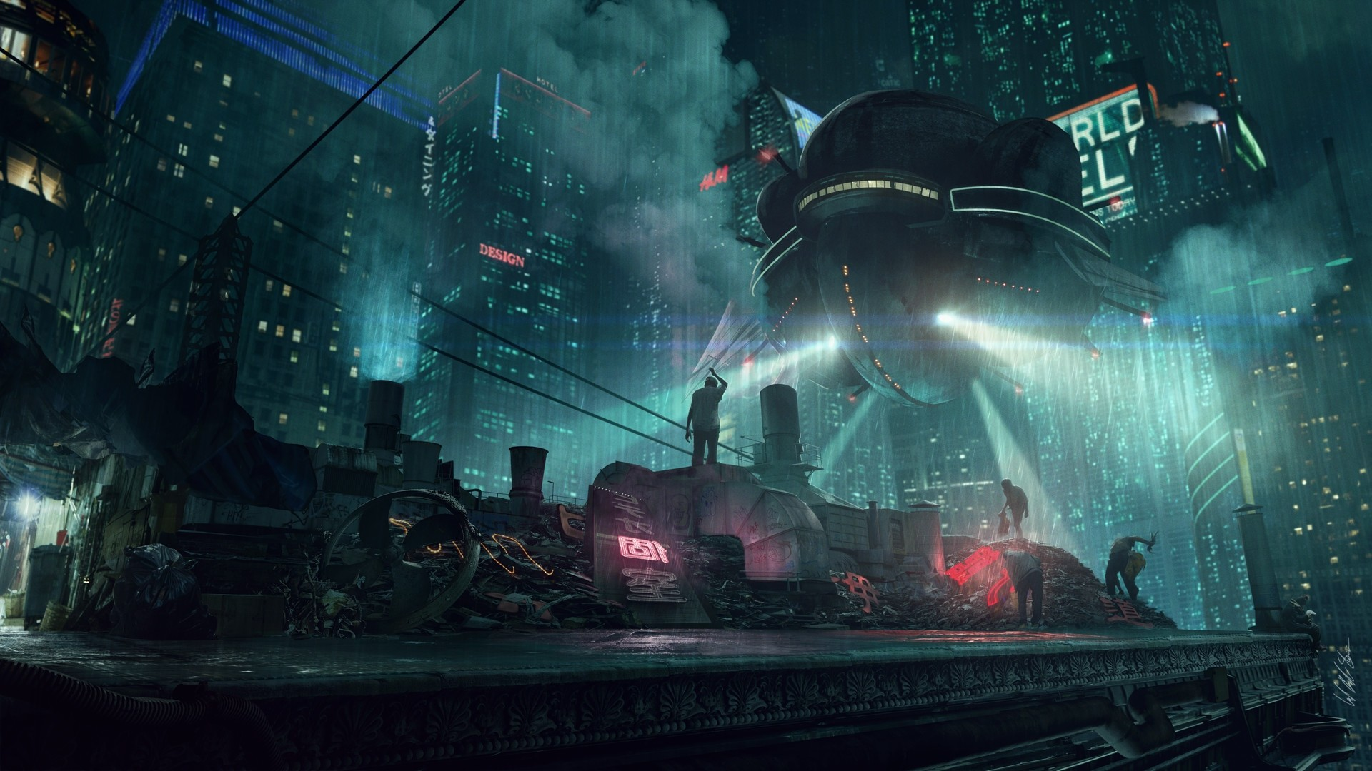 1920x1080 Raining in a cyberpunk city [x-post from /r/wallpapers] ...