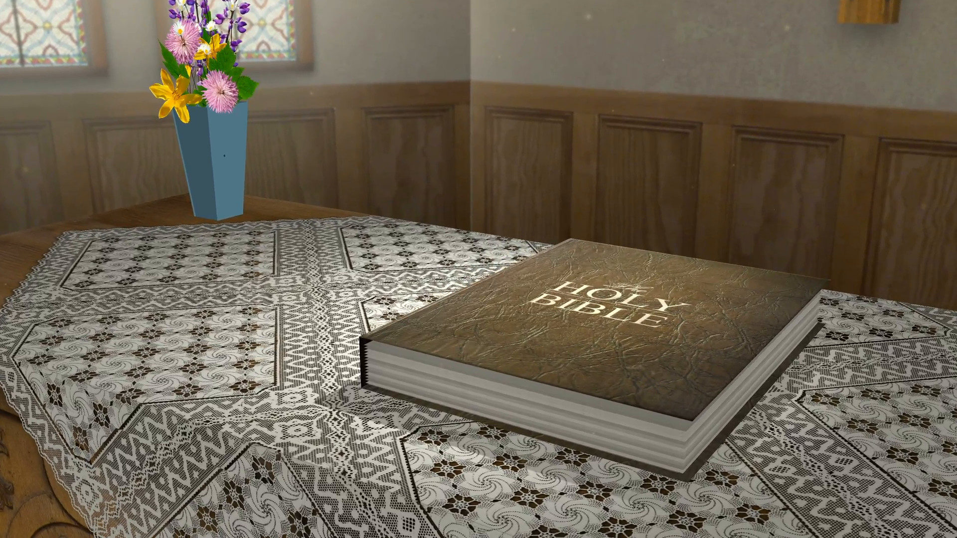 1920x1080 Insert a verse or Scripture into this 3D animation of a bible opening up on  a table in a church Motion Background - Storyblocks Video