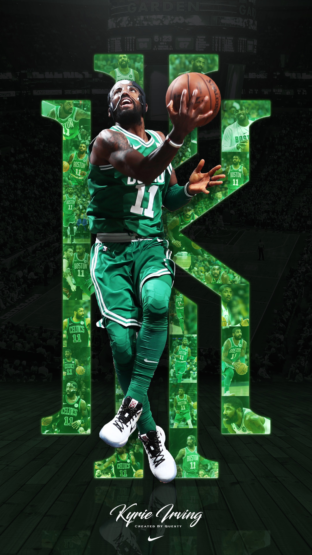1080x1920 Kyrie Irving Celtics iPhone Wallpaper. Created by @QuestyTv on Twitter