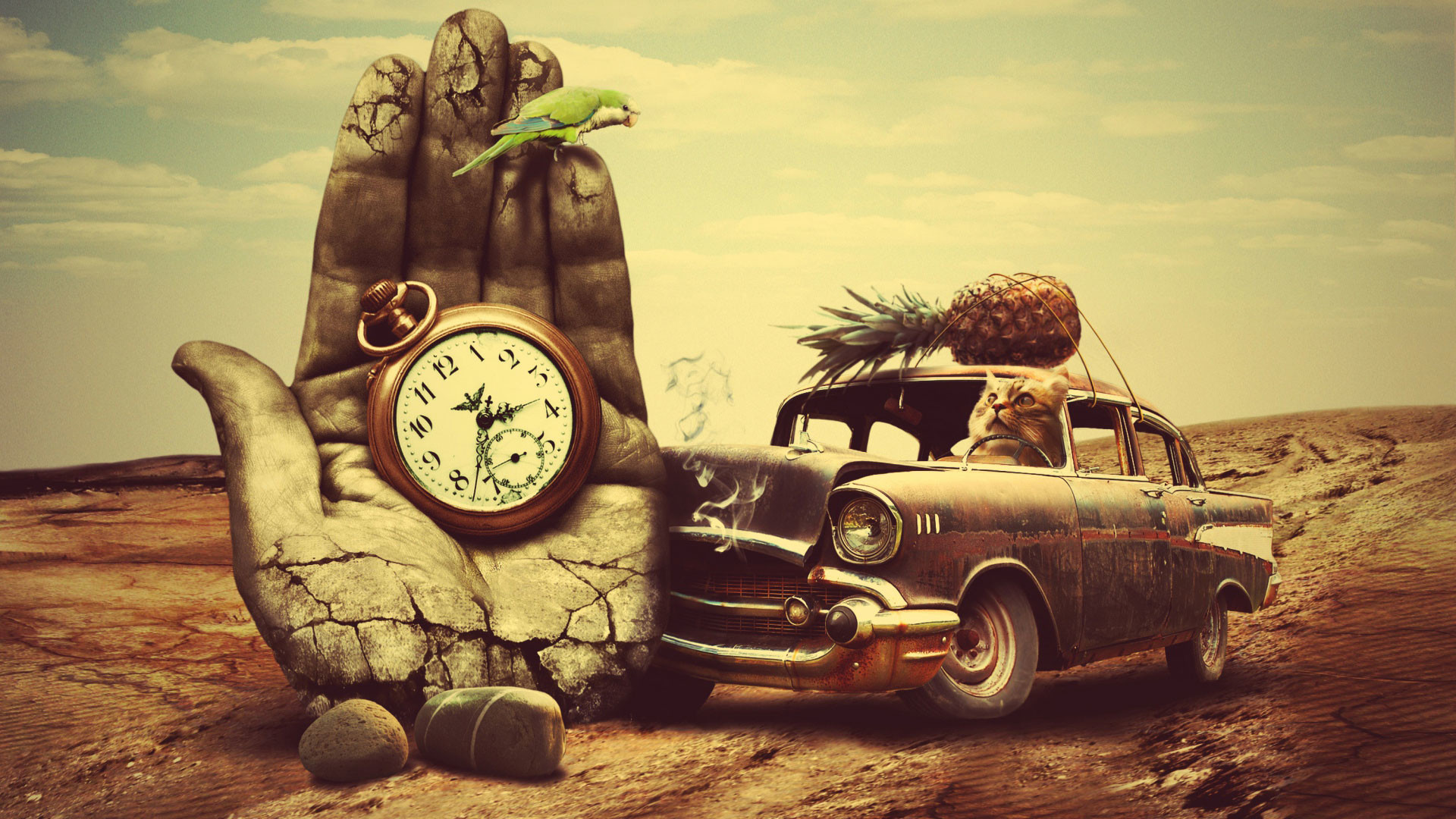 1920x1080 Hd Pics Photos Attractive Creativity Hand Time Clock Old Car Quality Desktop Background Wallpaper