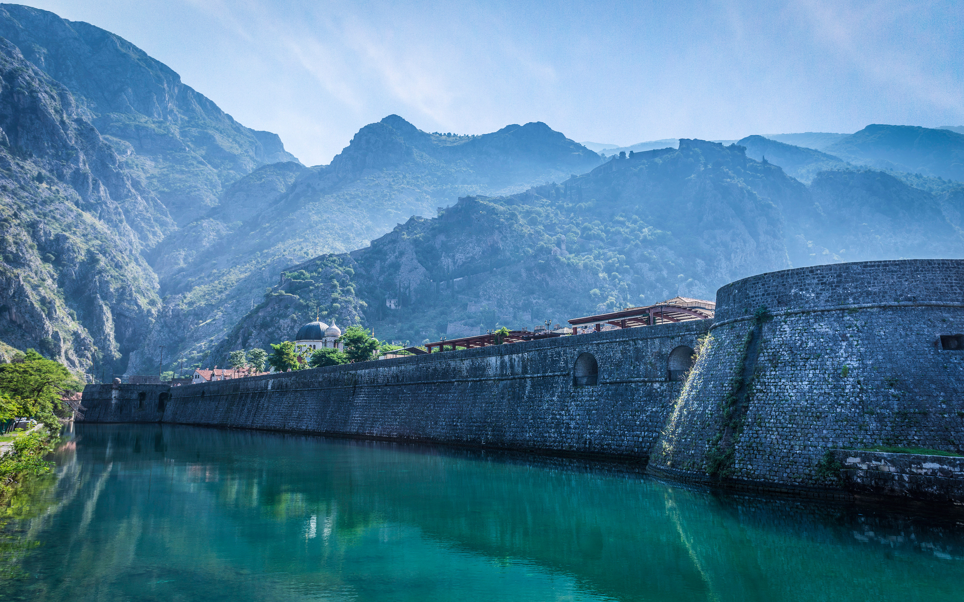 3360x2100 Pictures Montenegro Kotor city walls Nature Mountains
