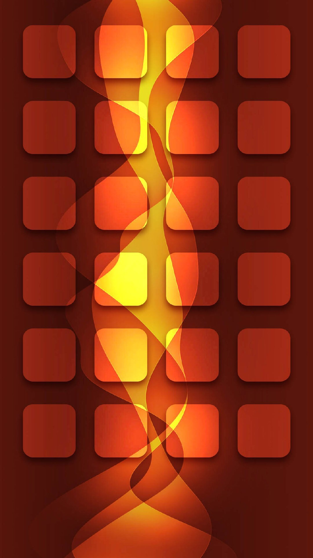 1080x1920 Shelves Abstract Fire Orange Lights Bright Icons