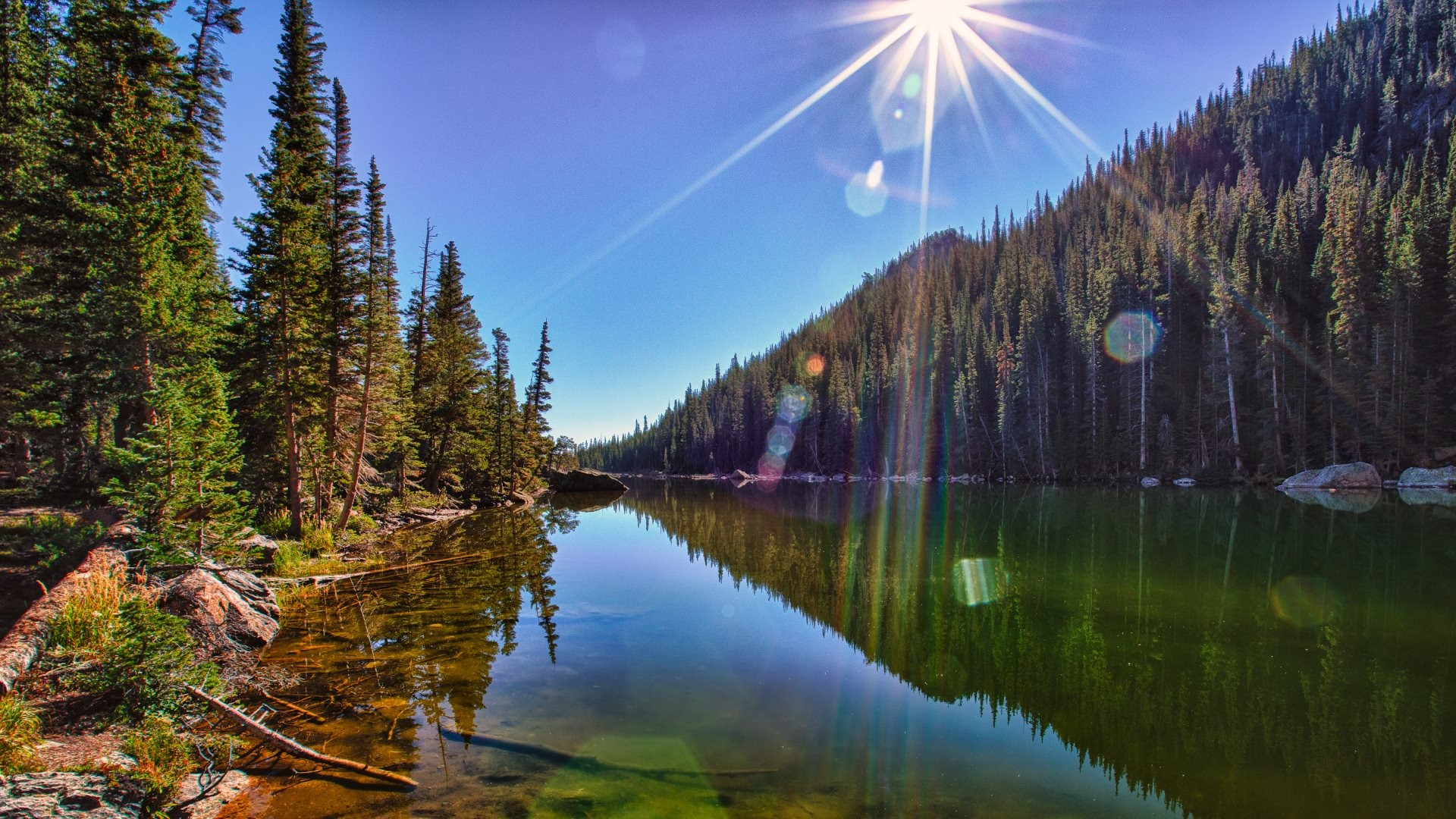 1920x1080 4K HD Wallpaper: Landscape - The Sun, reflected in Dream Lake in Rocky  Mountain National Park