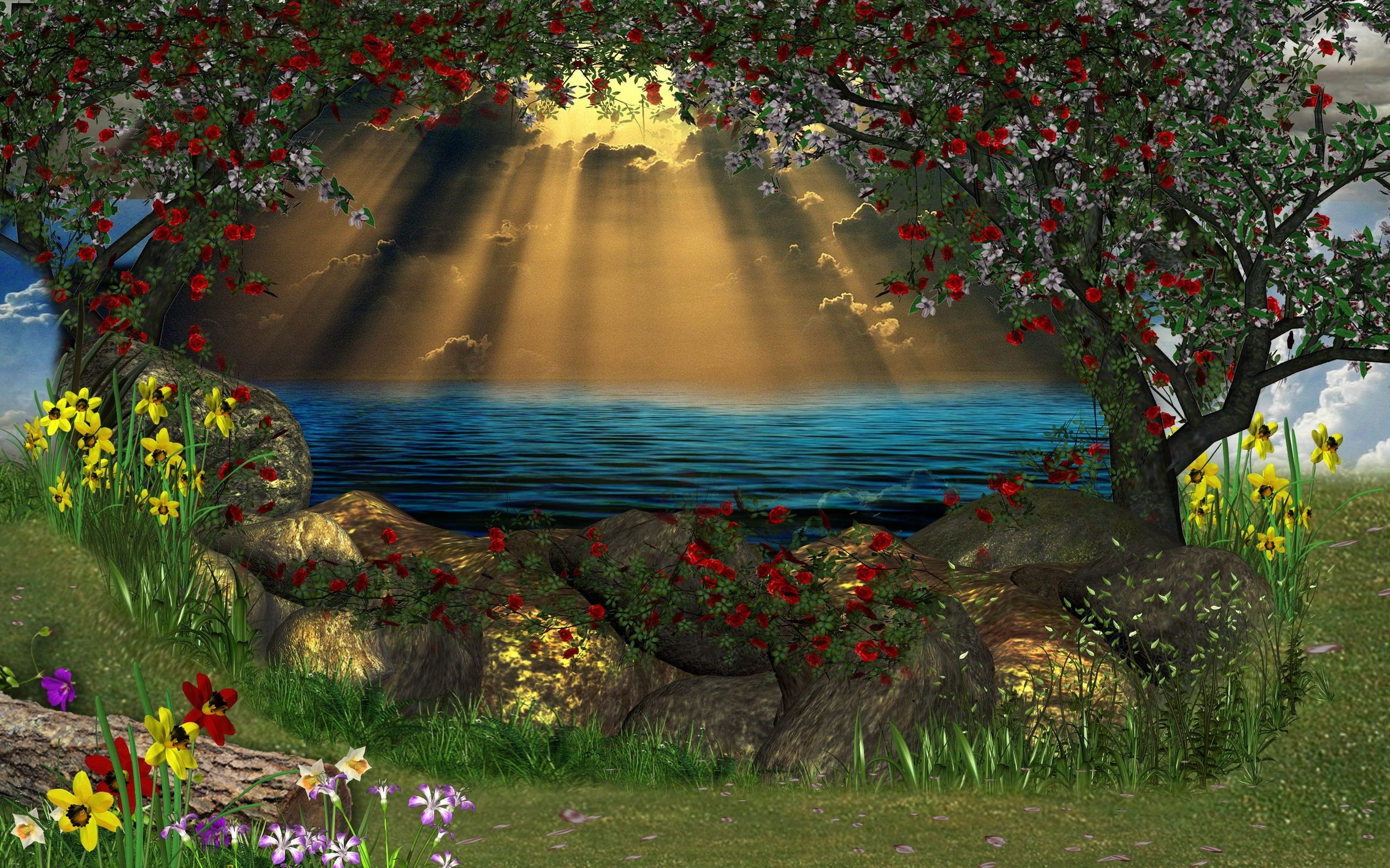 2560x1600 Fantasy - Lake Flower Magical Fantasy Daffodil Sunbeam Wallpaper