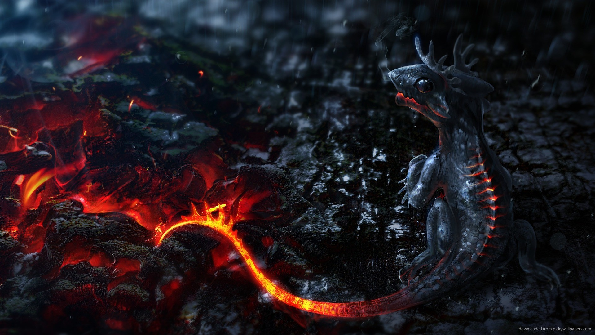 1920x1080 1440x900 3D Lava Dragon Baby wallpaper