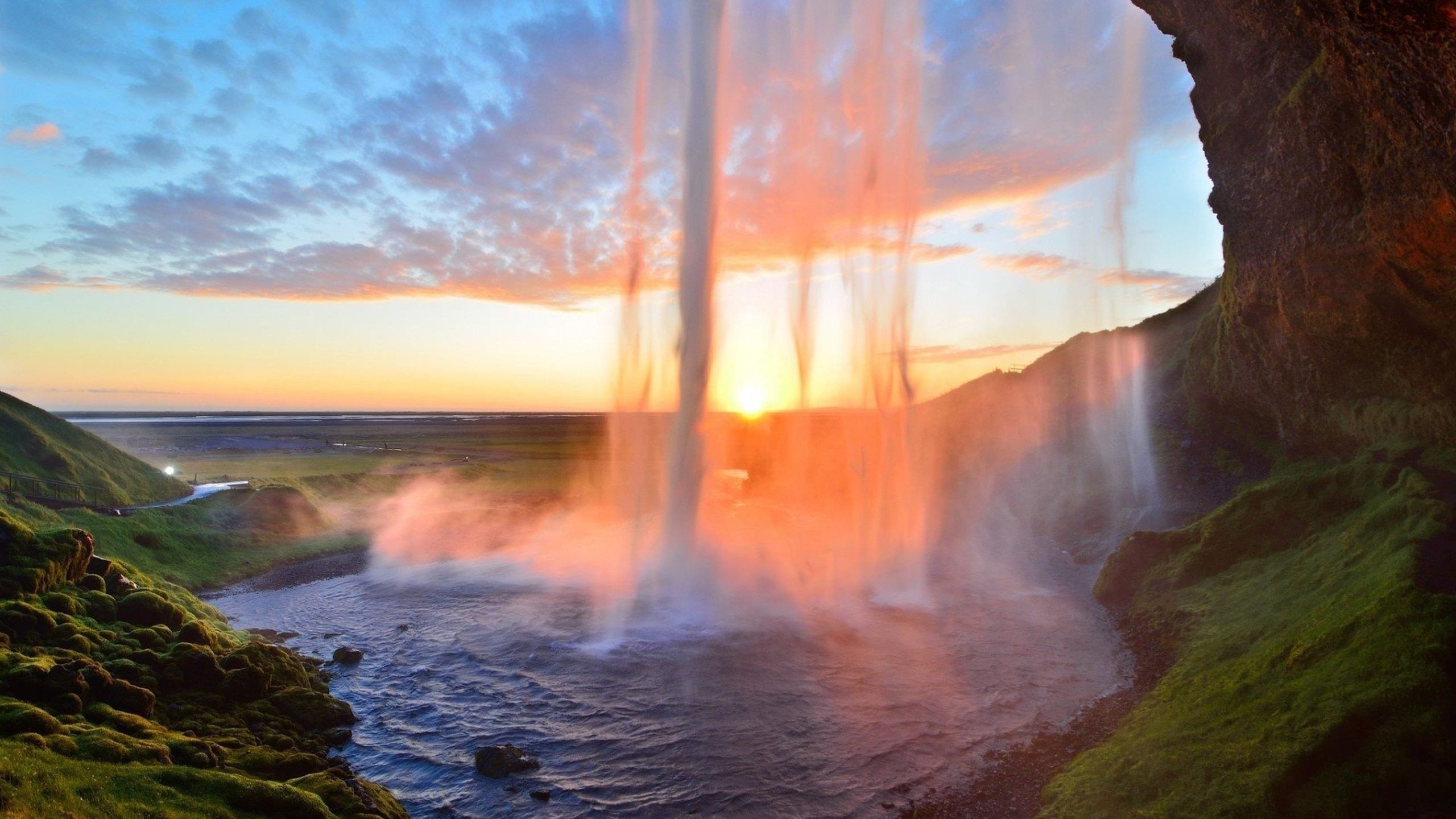 2560x1440 Preview wallpaper waterfall, lake, summer, sunset, grass