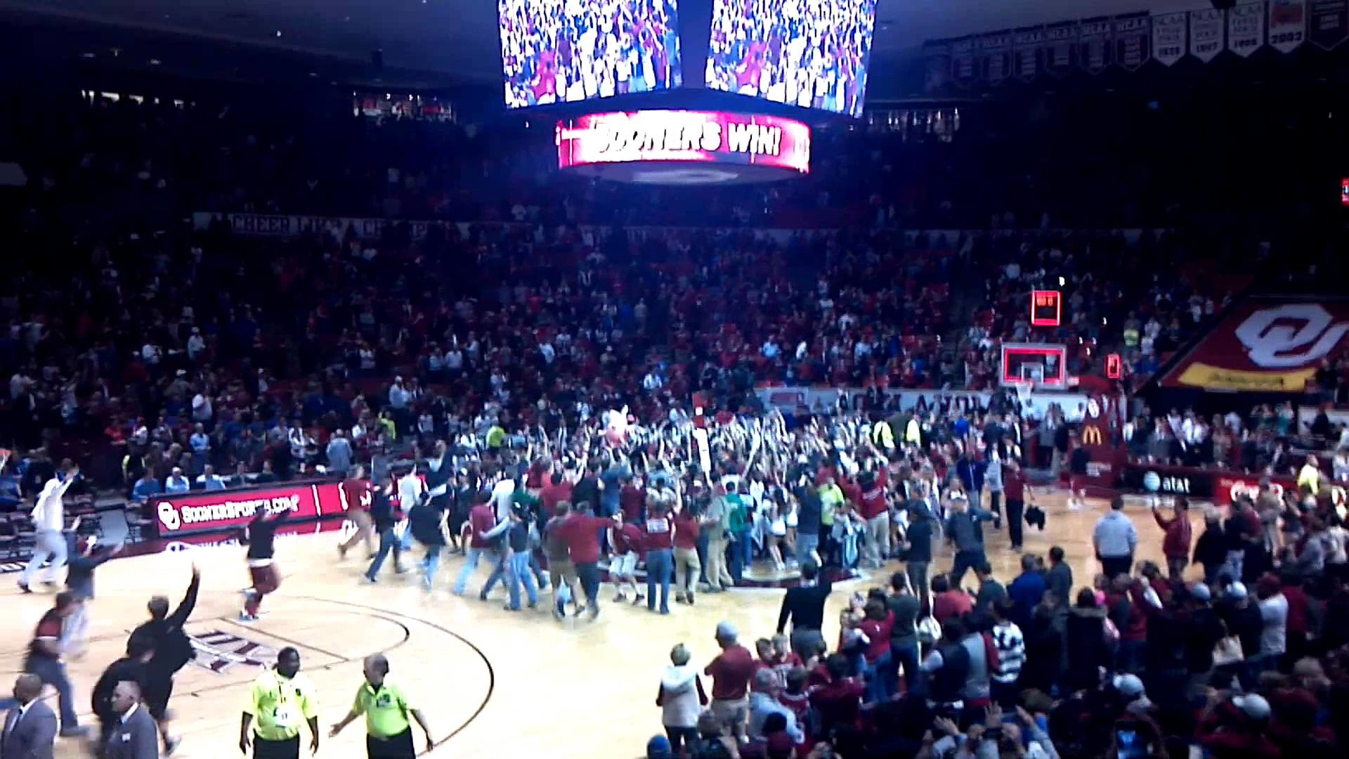 1920x1080 Oklahoma Sooners basketball fans storm the court after beating #5 Kansas  Jayhawks 72-66! Boomer!
