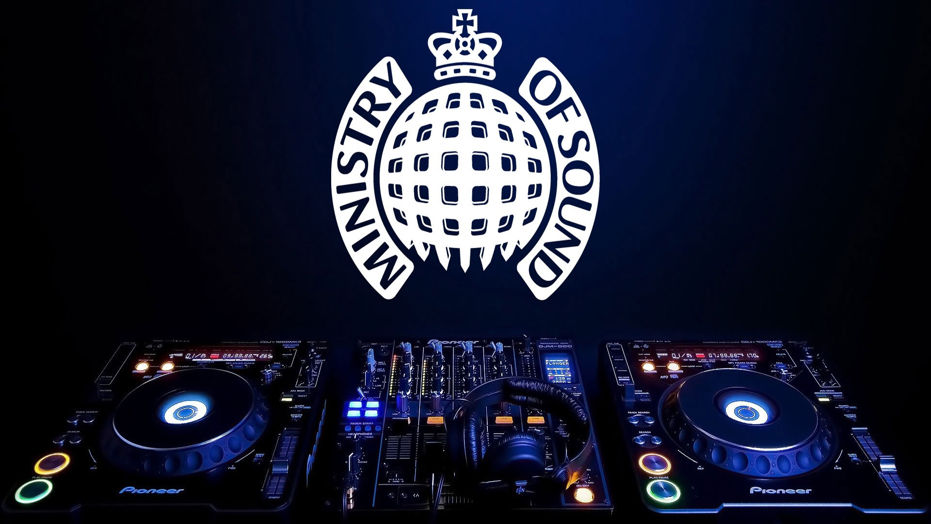 1920x1080  Wallpaper ministry of sound, console, headphones, emblem, brand