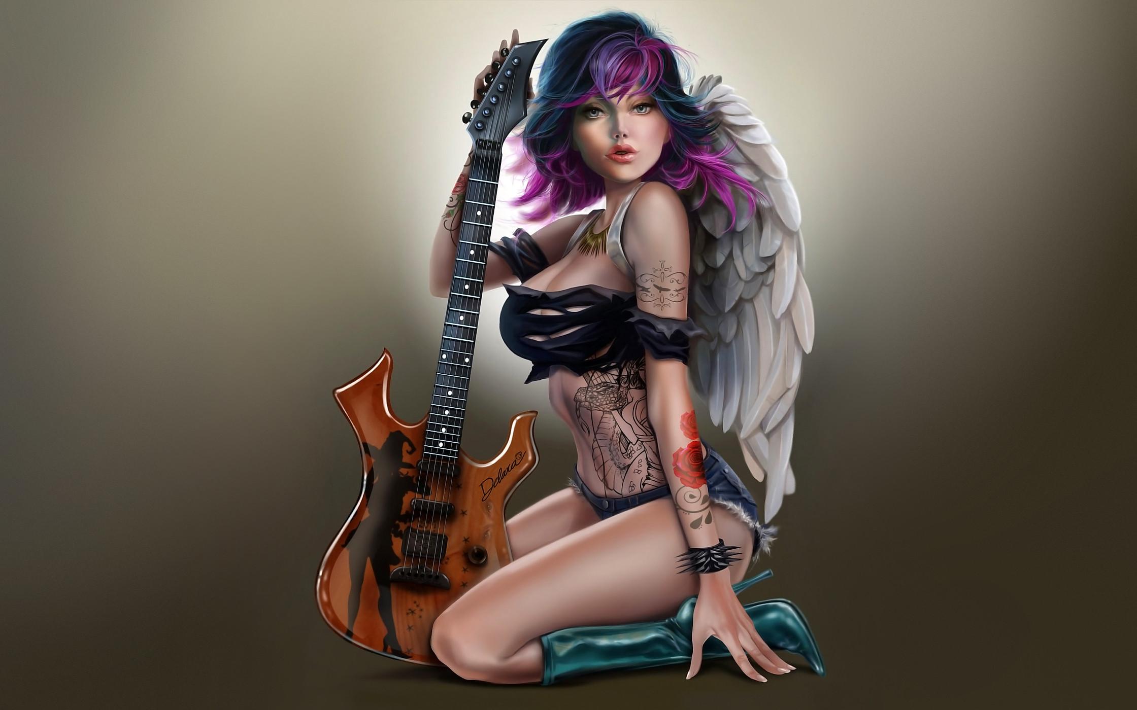 9c142e95b 2240x1400 angel rock, Art, girl, hair lights, angel, wings, tattoos