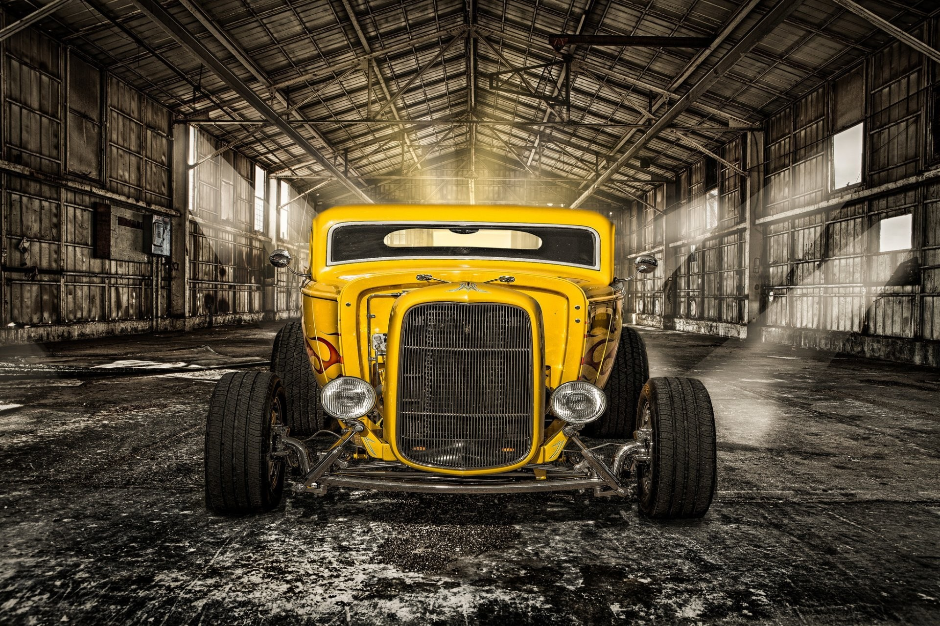 1920x1280 hot-rod classic car yellow classic retro front light hangar