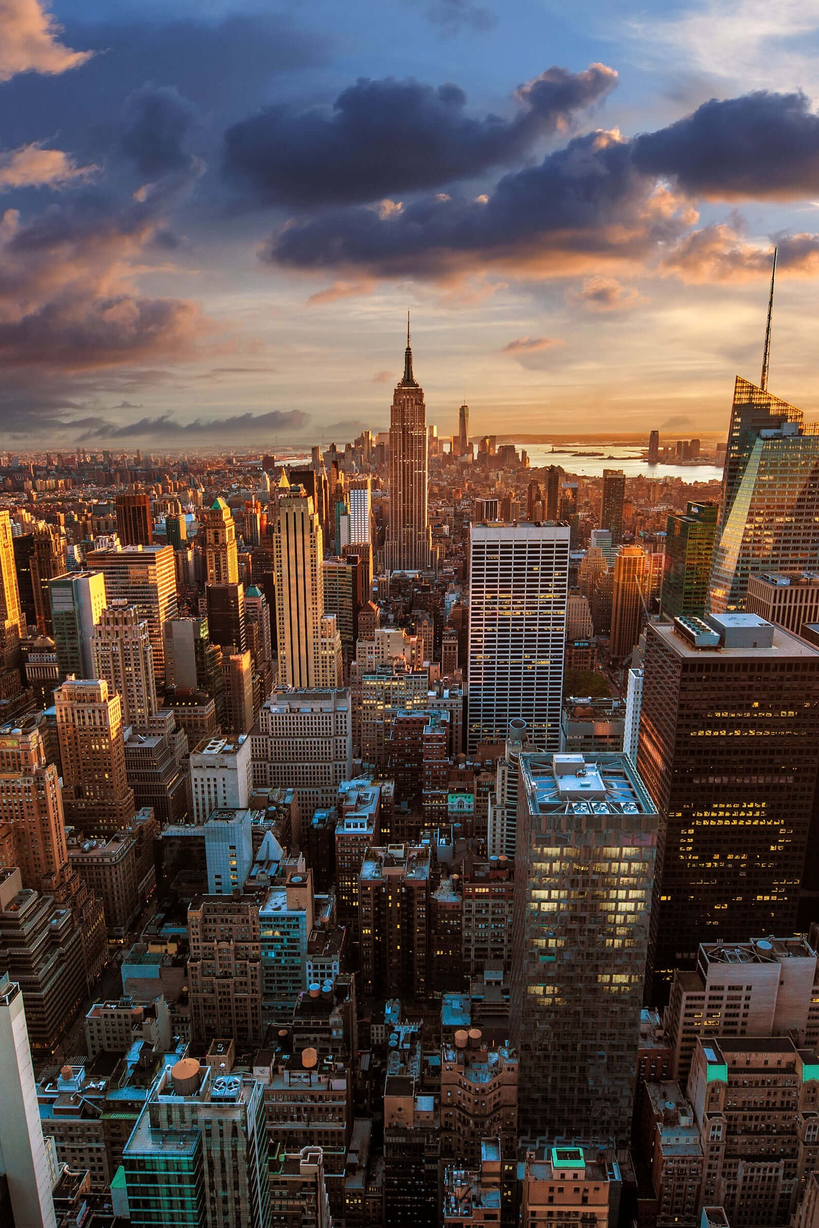 1600x2400 New York City Skyline At Sunset Wallpaper for Amazon Kindle Fire HDX 8 .