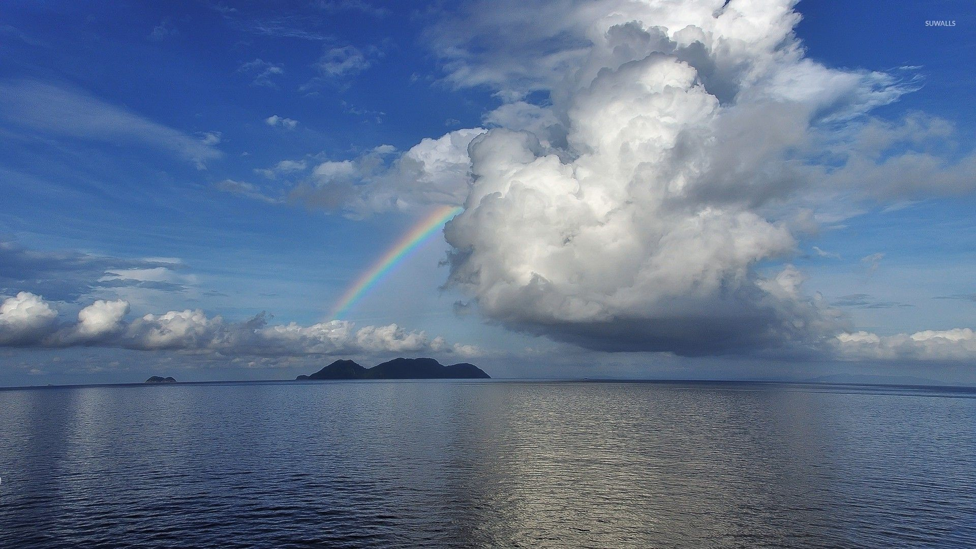 1920x1080 Rainbow in the middle of the ocean wallpaper  jpg