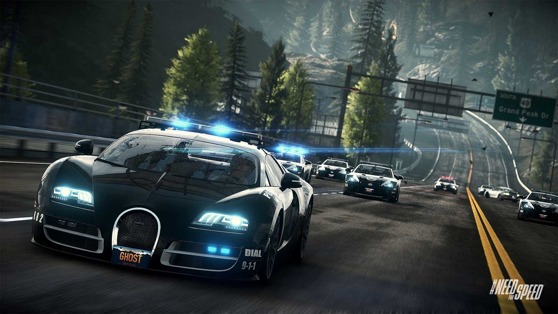 1920x1080 Need for Speed Rivals Bugatti Cop Car