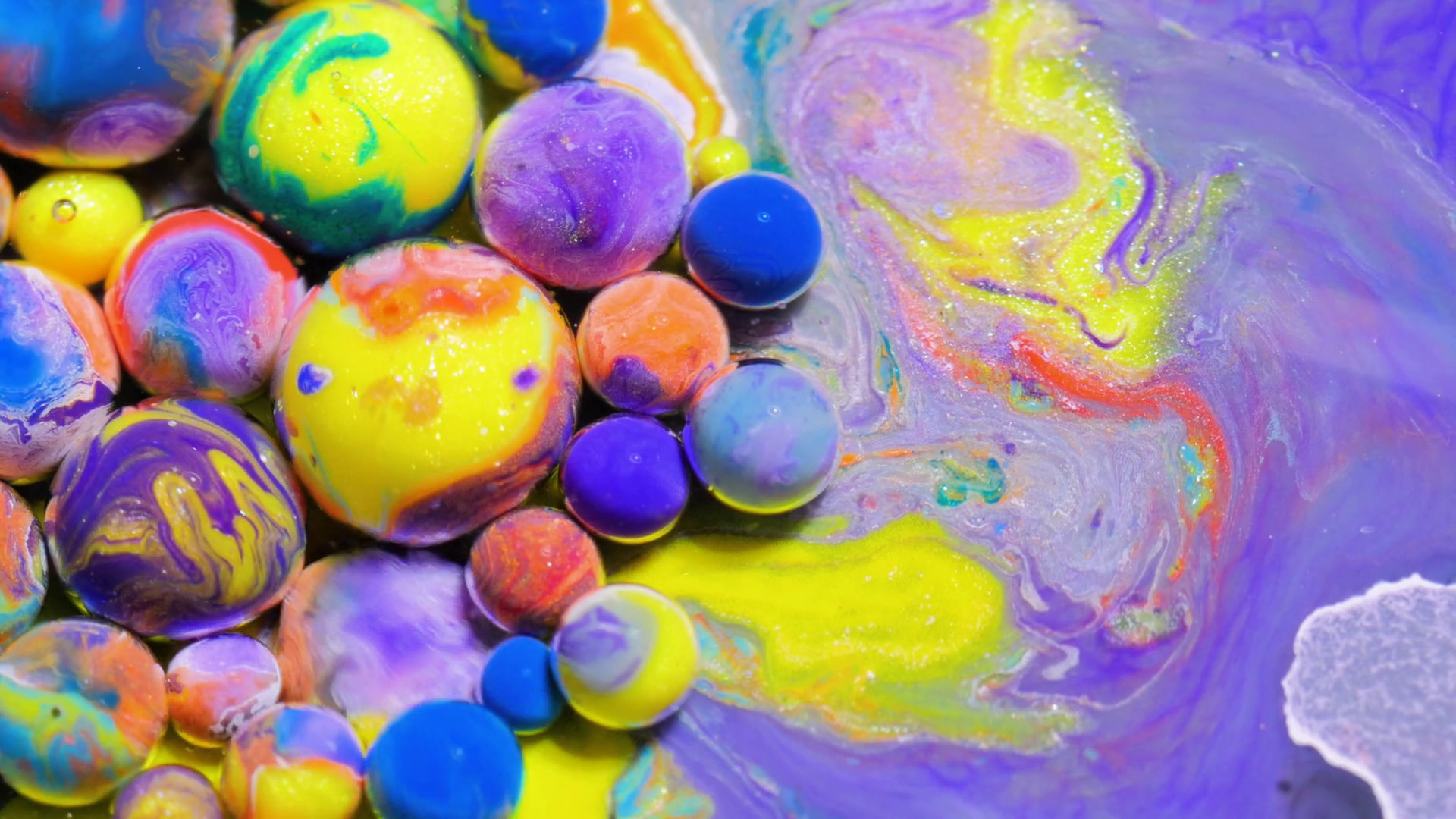 1920x1080 Slow Motion Vibrant Wallpaper 4K Chemical Reaction Splashing Multicolored  Background Red Green Blue Black Purple Orange And Yellow Macro Colorful  Bubbles ...