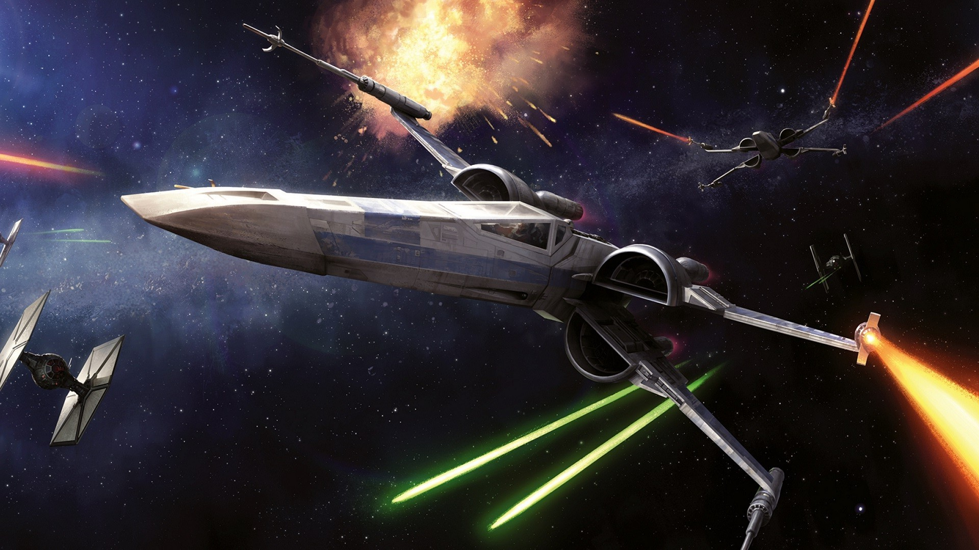 1920x1080 Star Wars, Space, Spaceship, X wing, Laser, Lasers, Science Fiction