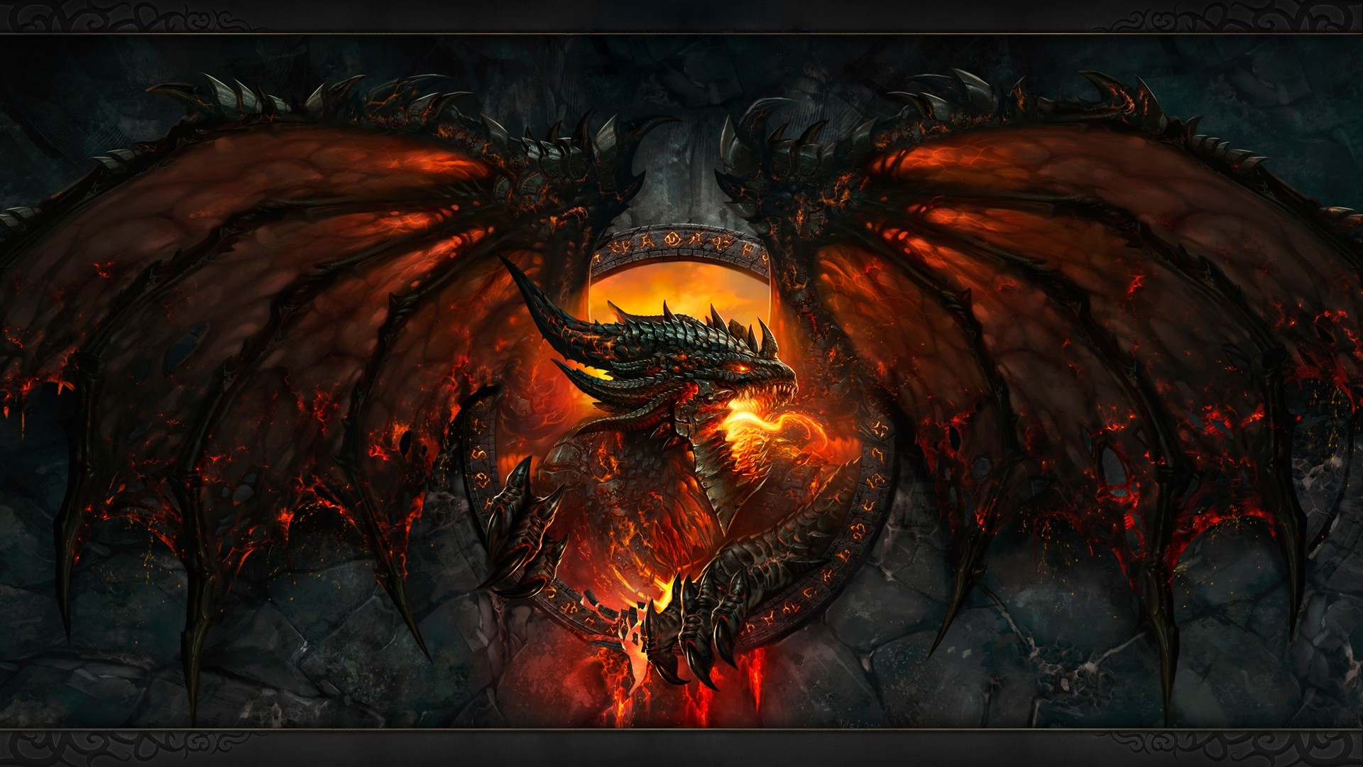 1920x1080 General dragon fire Dragon Wings wings claws fantasy art face teeth World  of Warcraft video games Deathwing