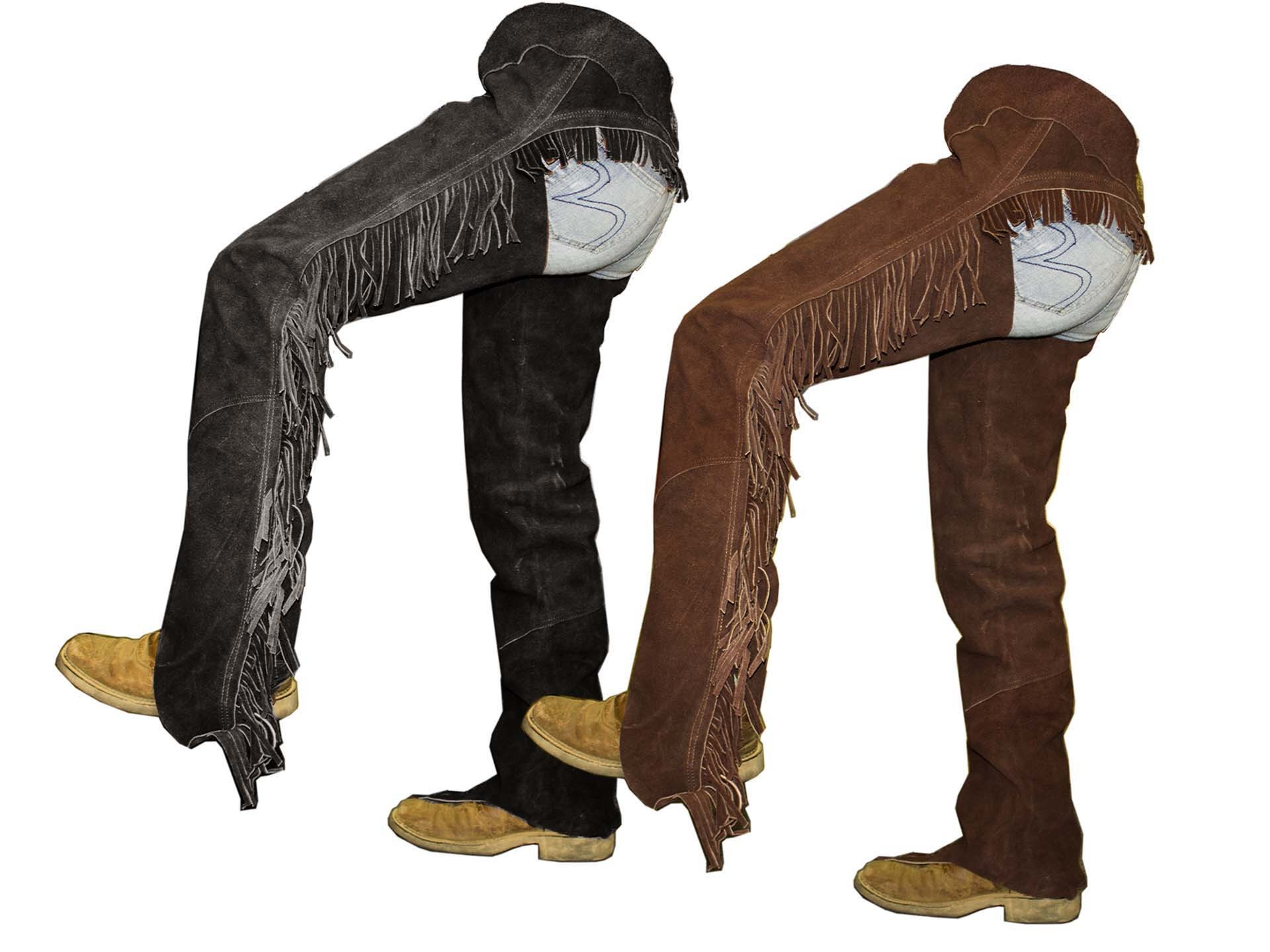 1920x1440 Tahoe Suede Leather Western Full Chaps with Fringes | www.tackwholesale.com