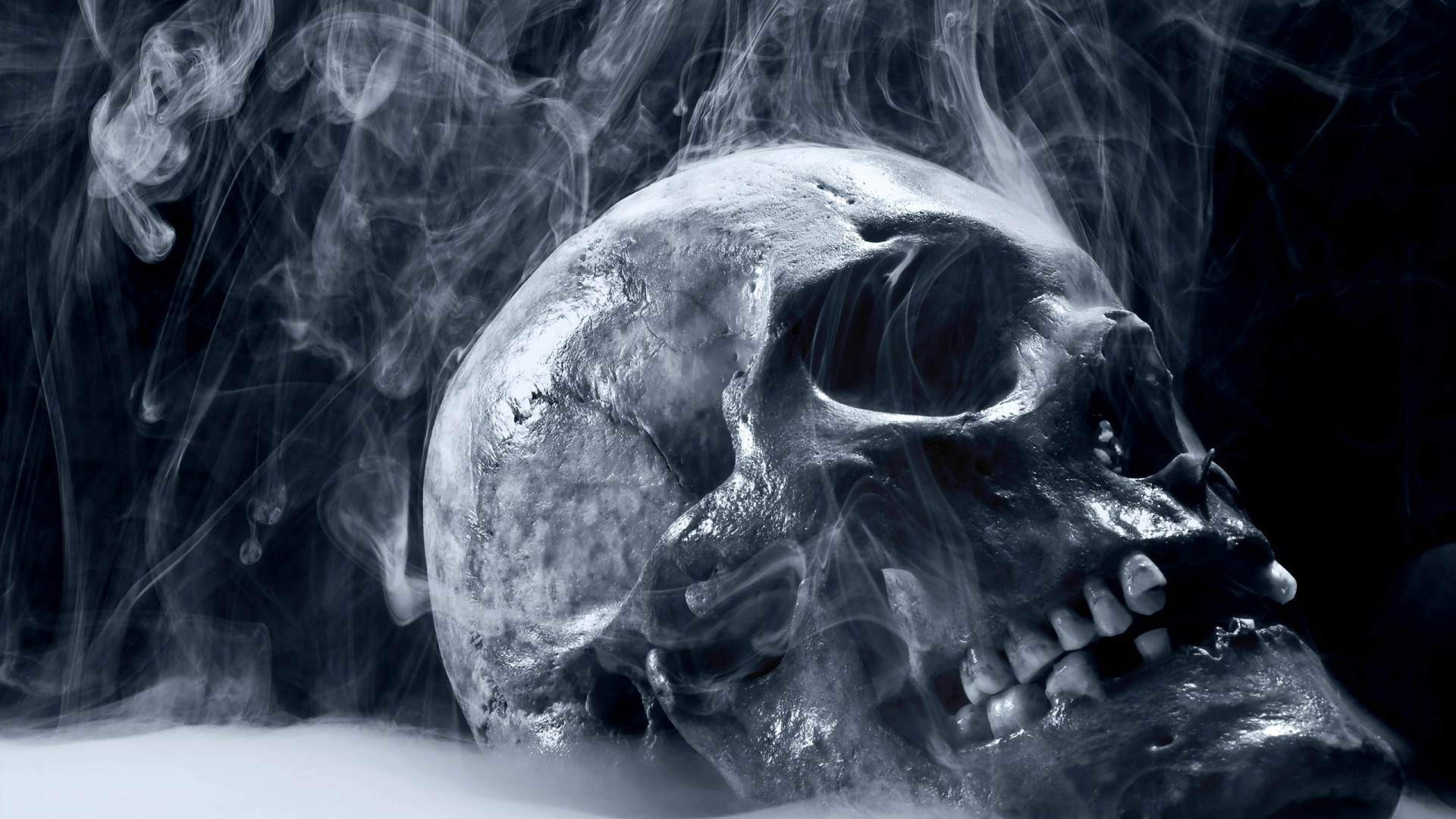 1920x1080 Smoke and Skull Scary Wallpaper