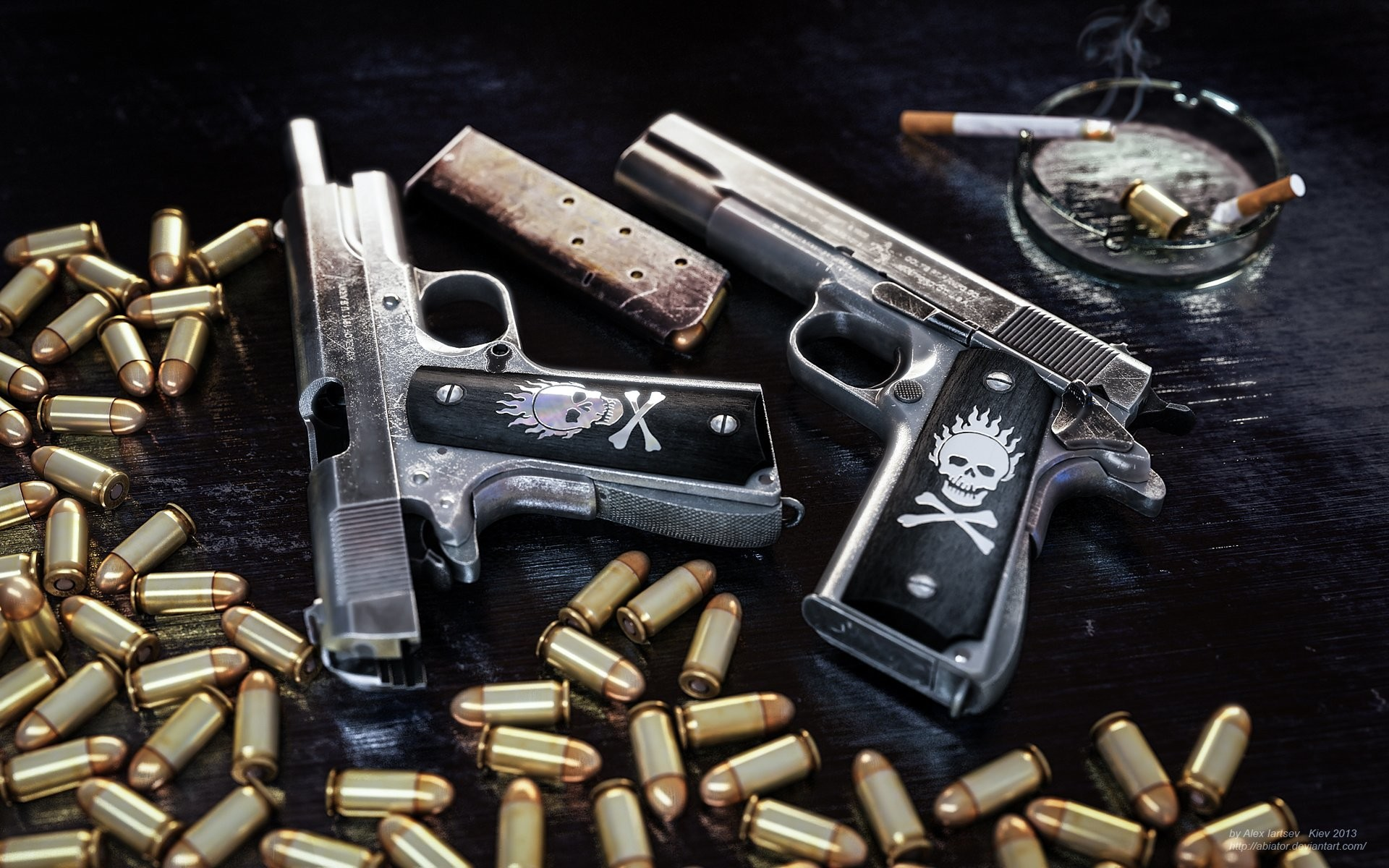 1920x1200 pistol ammunition clip colt ammo weapon gun skull wallpaper background .
