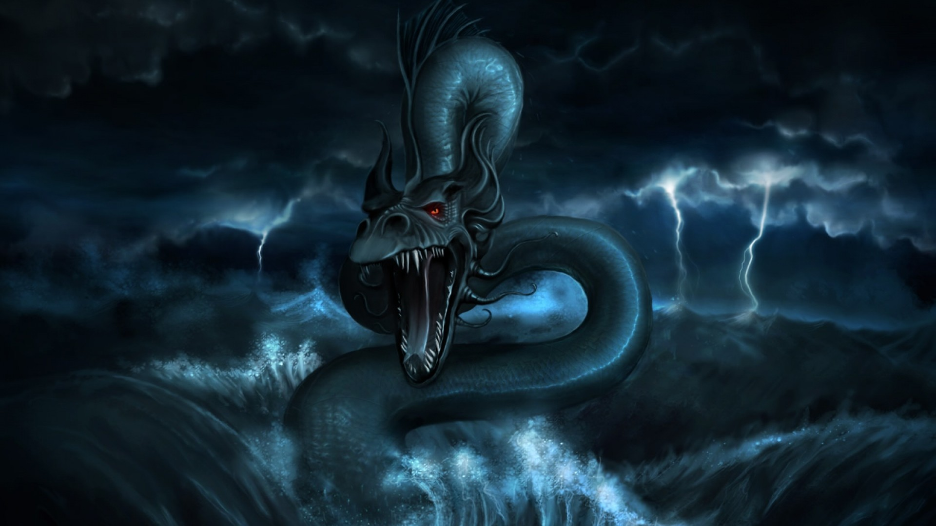 1920x1080  Wallpaper dragon, monster, water, storm