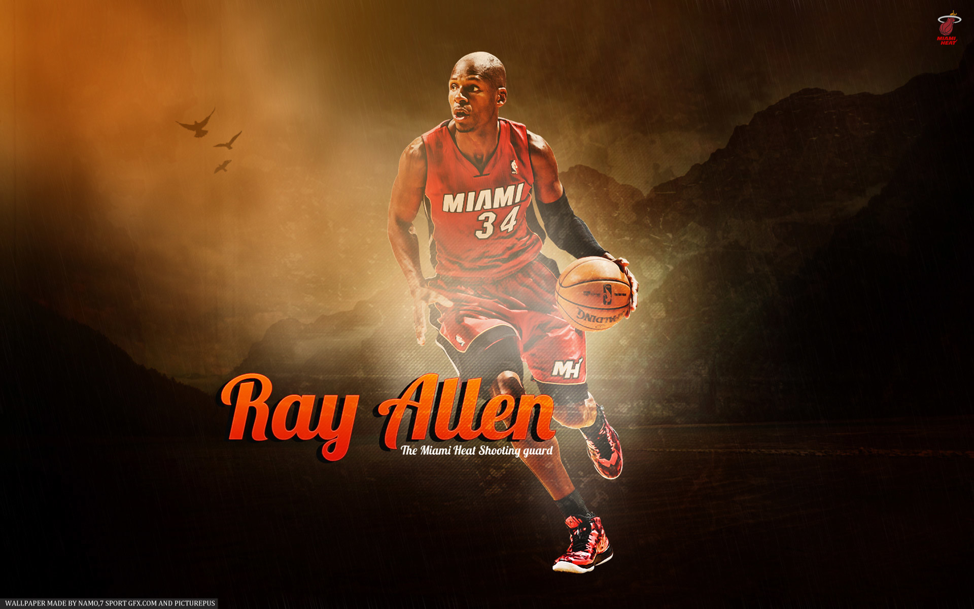 1920x1200 Ray Allen Miami Heat backgrounds HD 2013