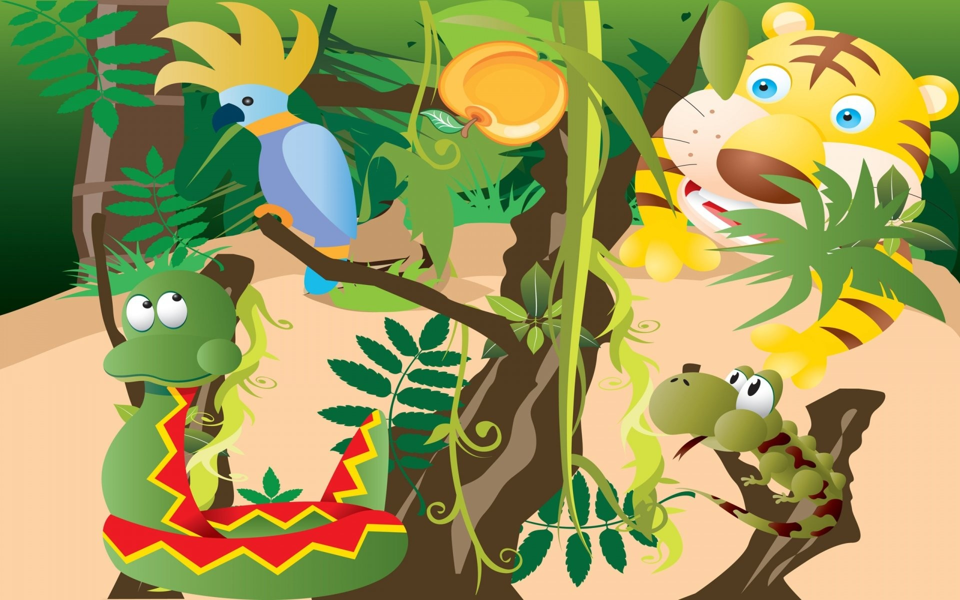 1920x1200 Cartoon Jungle Animals Wallpaper
