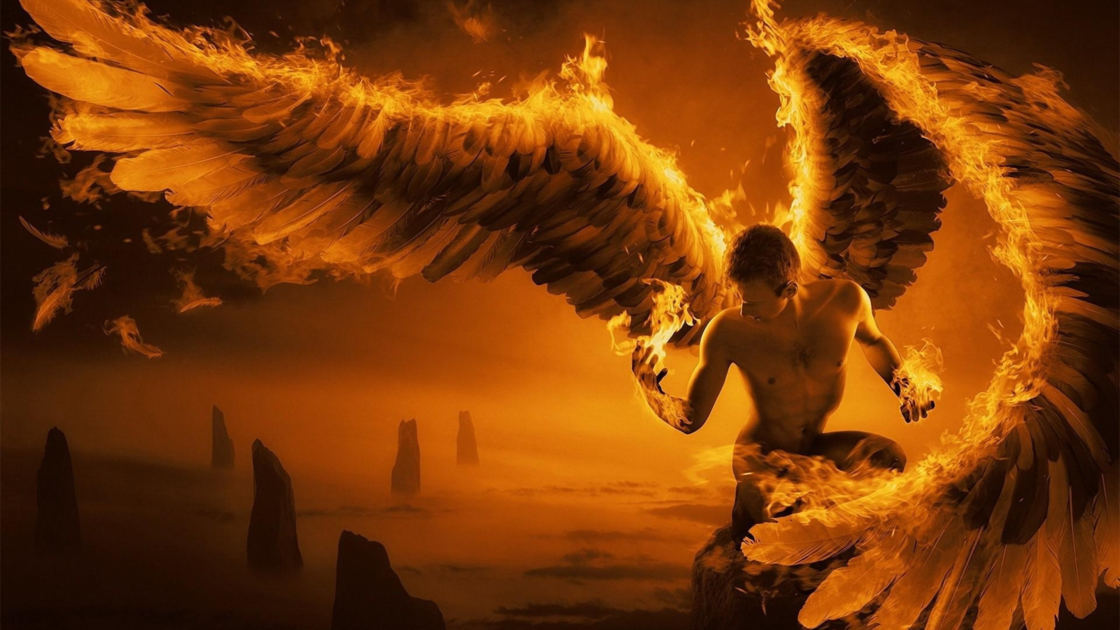 3840x2160 Preview wallpaper angel, wings, fire, fog, rocks