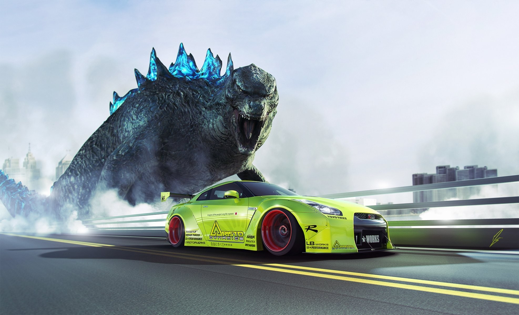 1974x1200 nissan gtr r35 liberty walk green godzilla speed