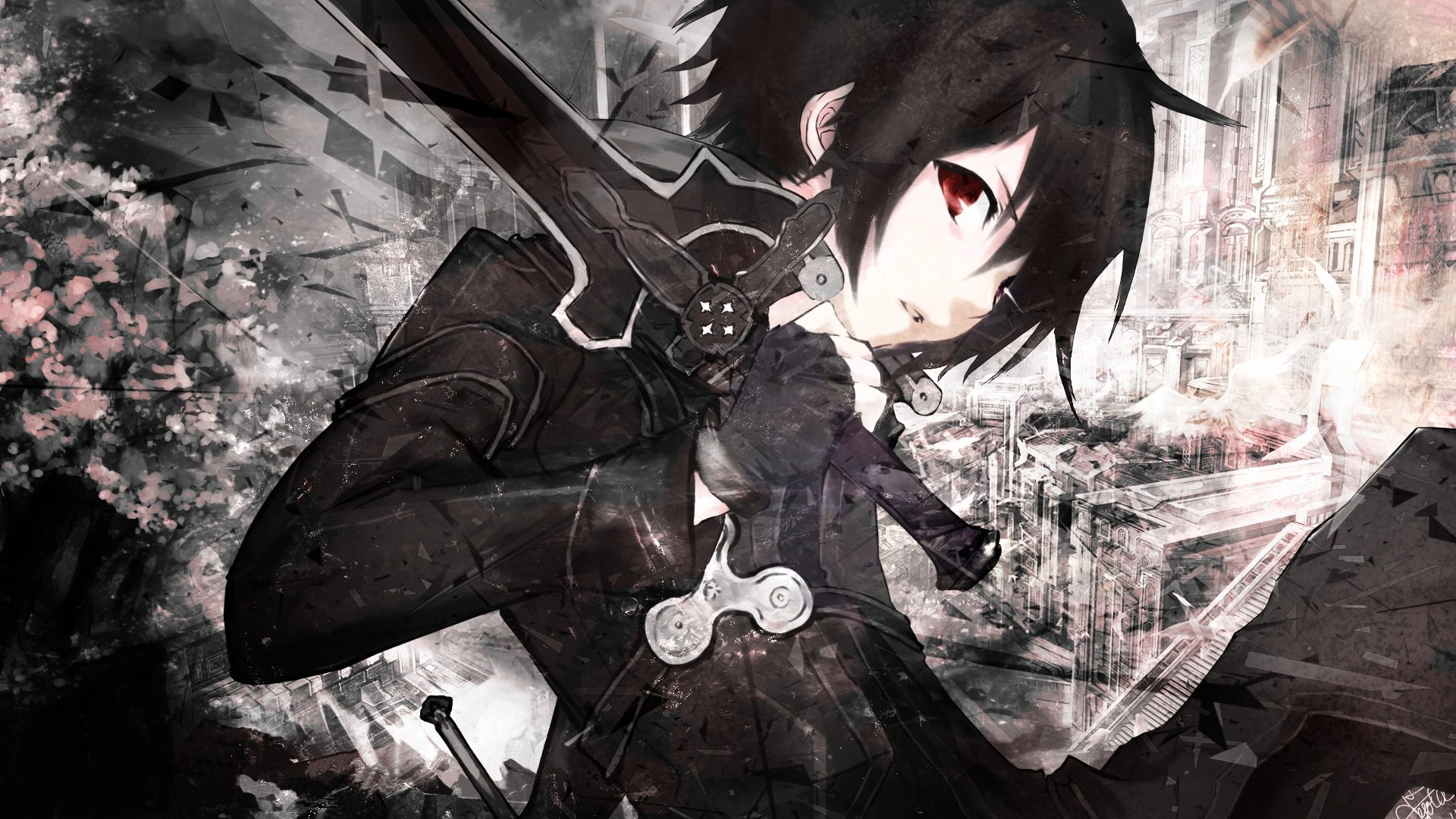 1920x1080 Black White Anime Wallpaper