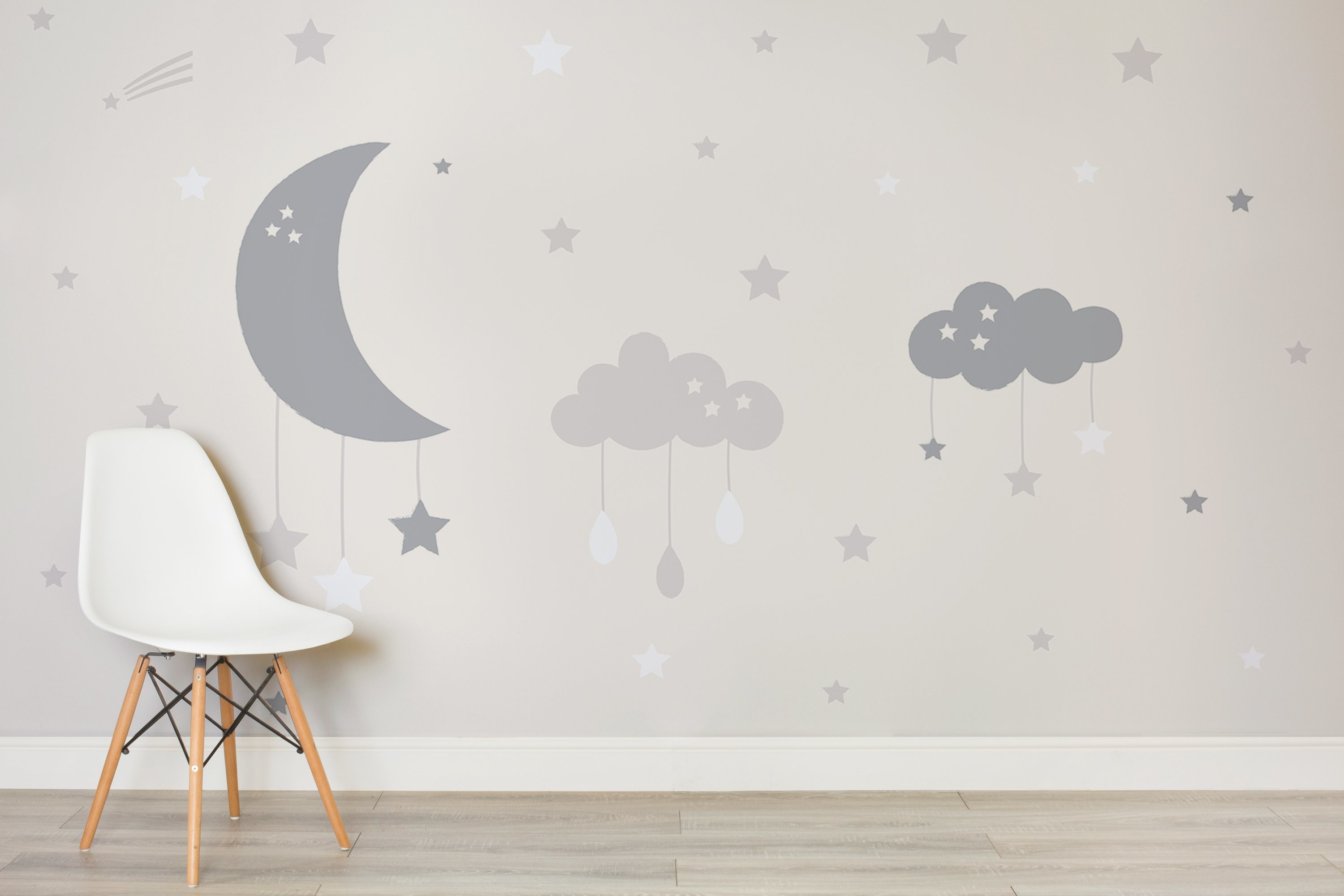 3000x2000 Baby Clouds and Moon Wall Mural