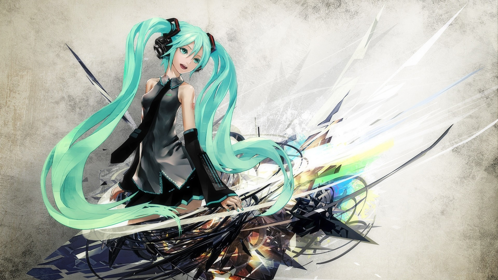 1920x1080  Wallpaper anime, hatsune miku, girl, cute, smile
