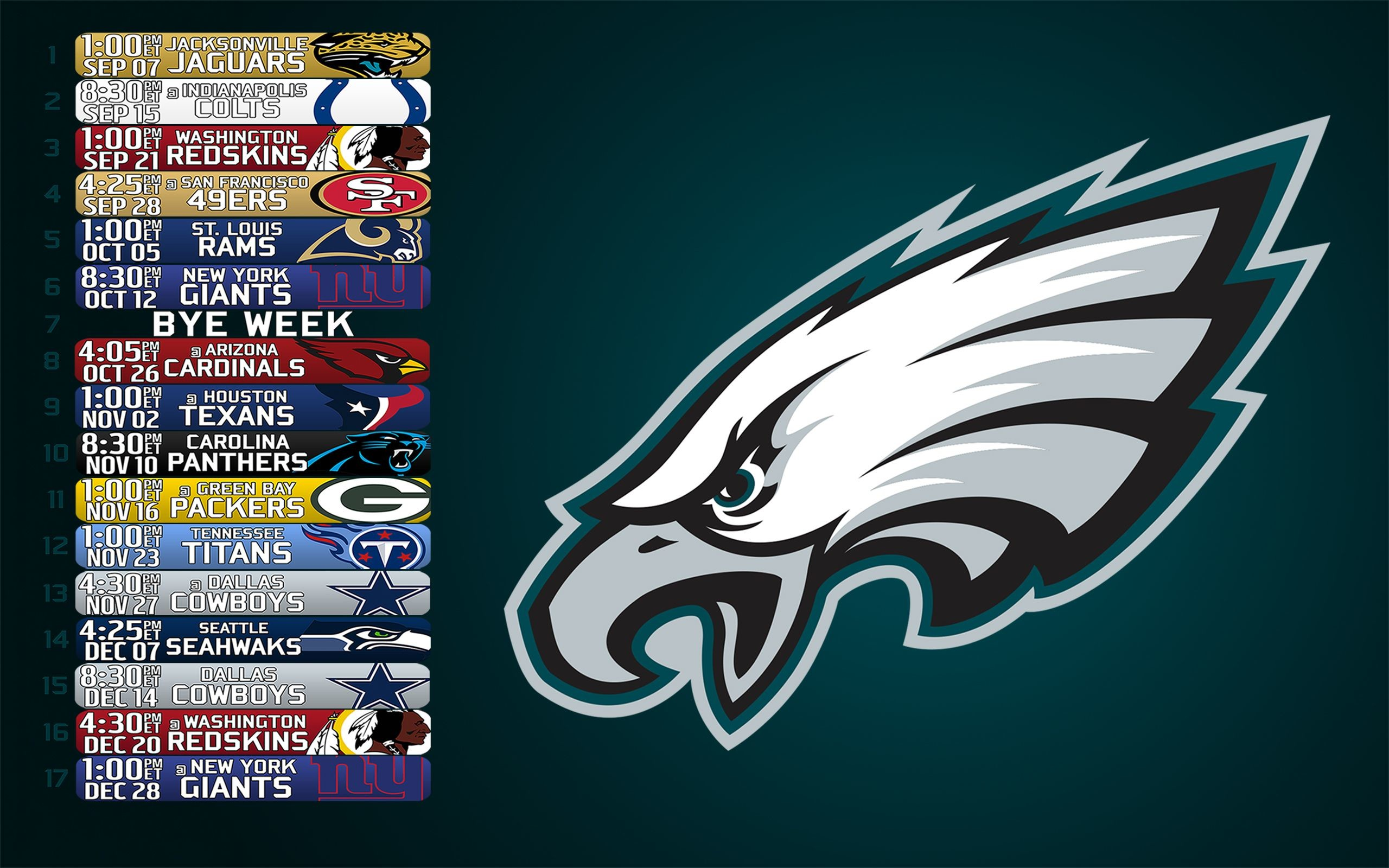 2560x1600 2014 Eagles schedule wallpaper () ...