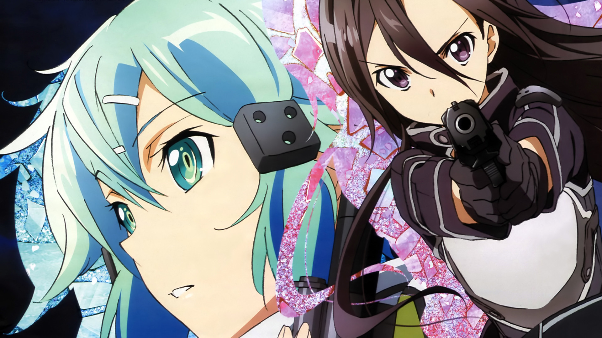 1920x1080 Sinon and Kirito Gun Gale Online
