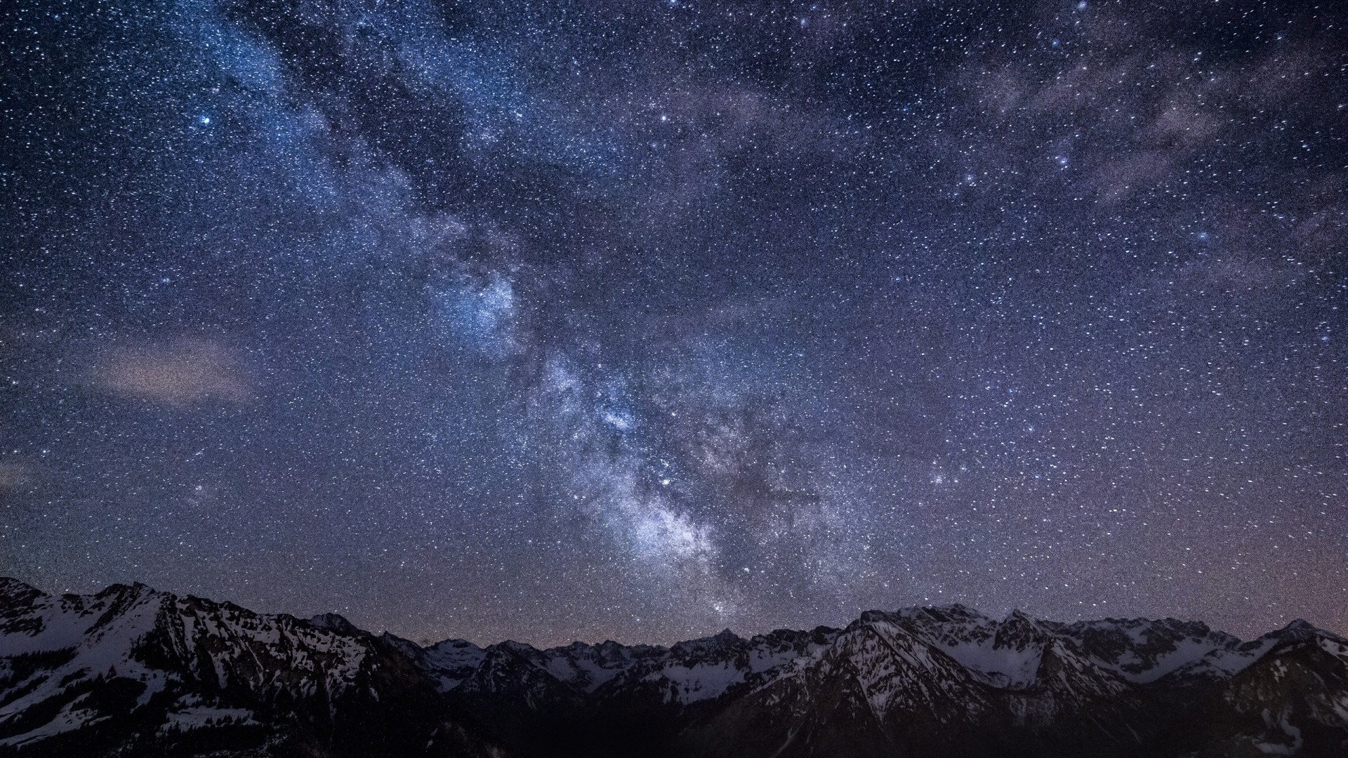 1920x1080 Preview wallpaper milky way, stars, mountains, night, germany, bavaria, sky