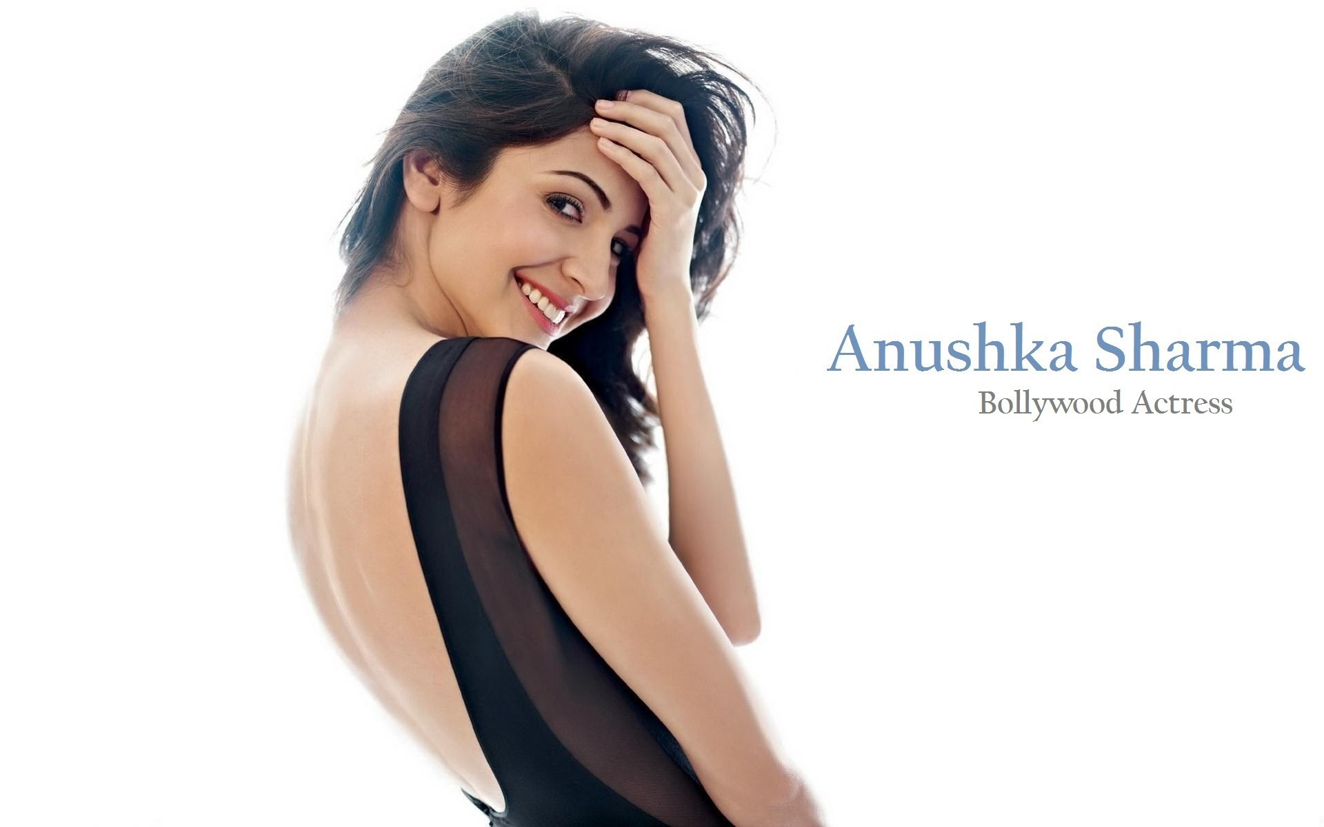 1920x1200 Beautiful Smile Face of Indian Celebrity Anushka Sharma with Black Top HD  Wallpaper Download
