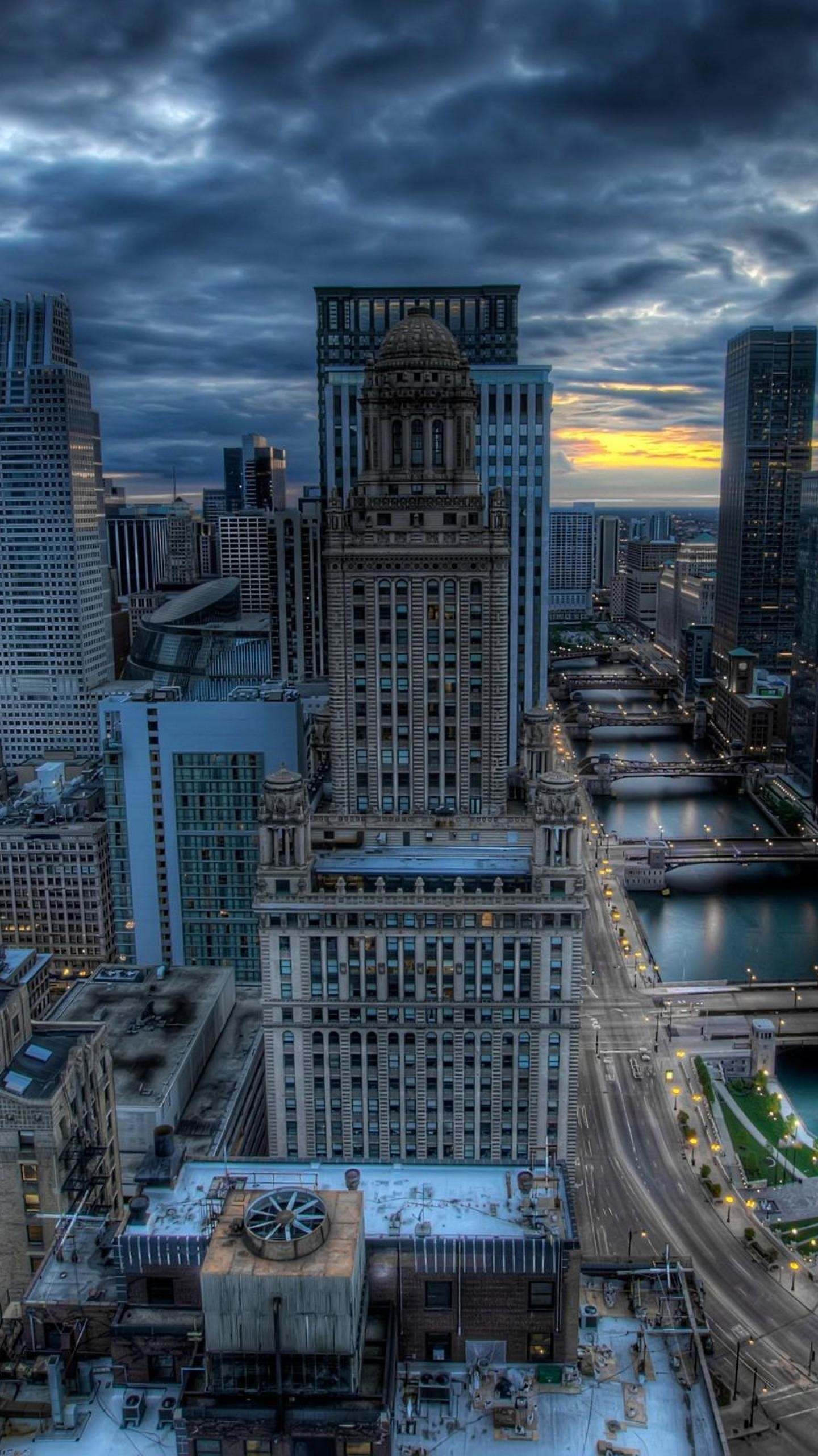 1440x2560 Chicago Nightfall Wallpaper