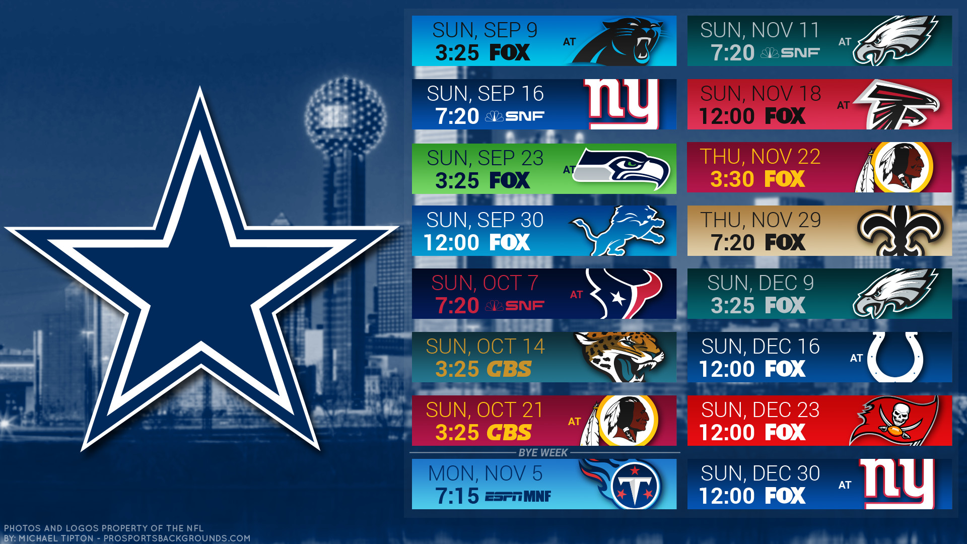 Dallas Cowboys 2018 Schedule Wallpaper
