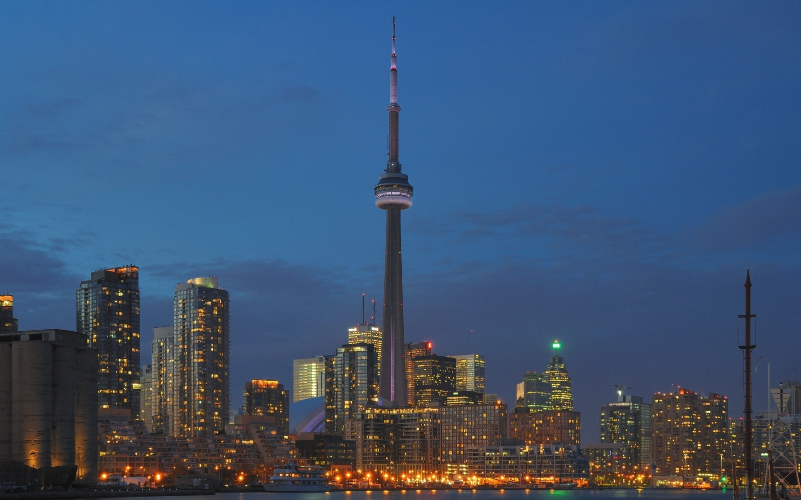 2560x1600  Wallpaper toronto, buildings, lights, city, view from above