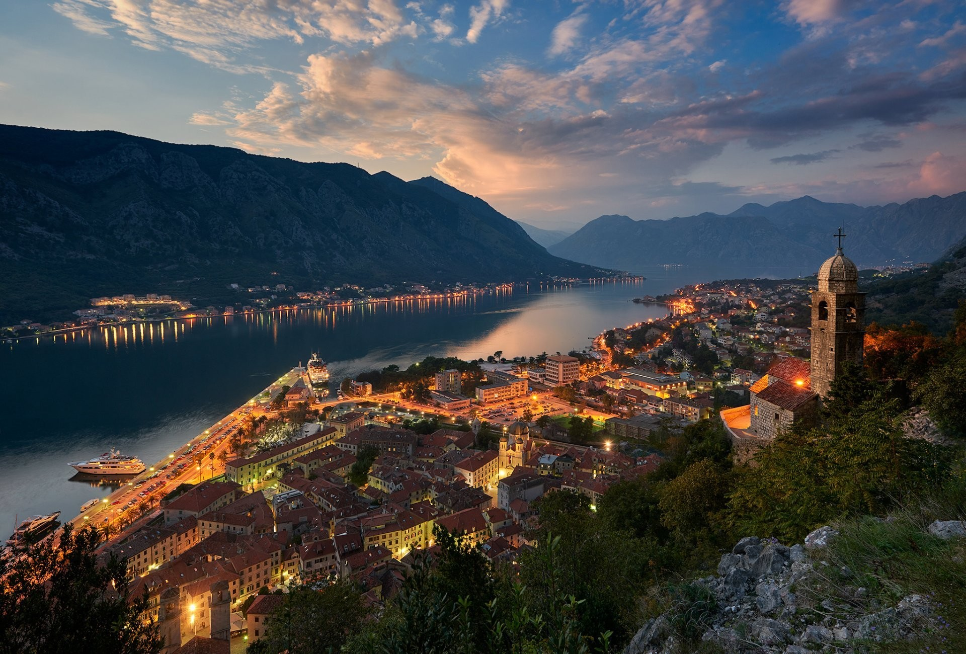 1920x1300 montenegro town which bay of kotor adriatic sea mountain house light church  night