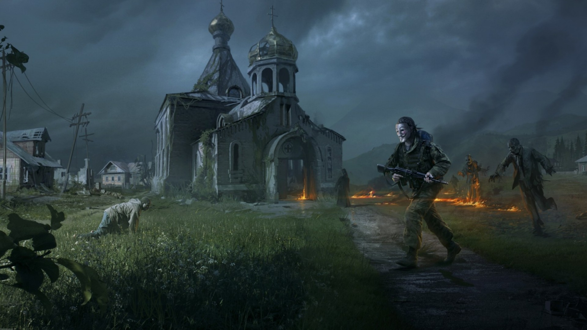 1920x1080 Preview wallpaper dayz standalone, apocalypse, fire, people, zombies,  church, village
