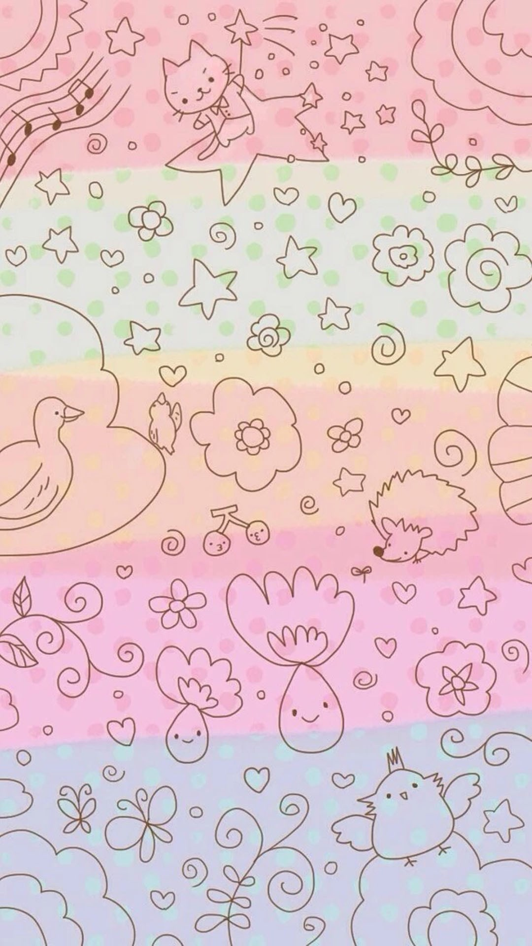 1080x1920 Dreamy Anime Cute Kitten Pattern Painting Background #iPhone #6 #wallpaper