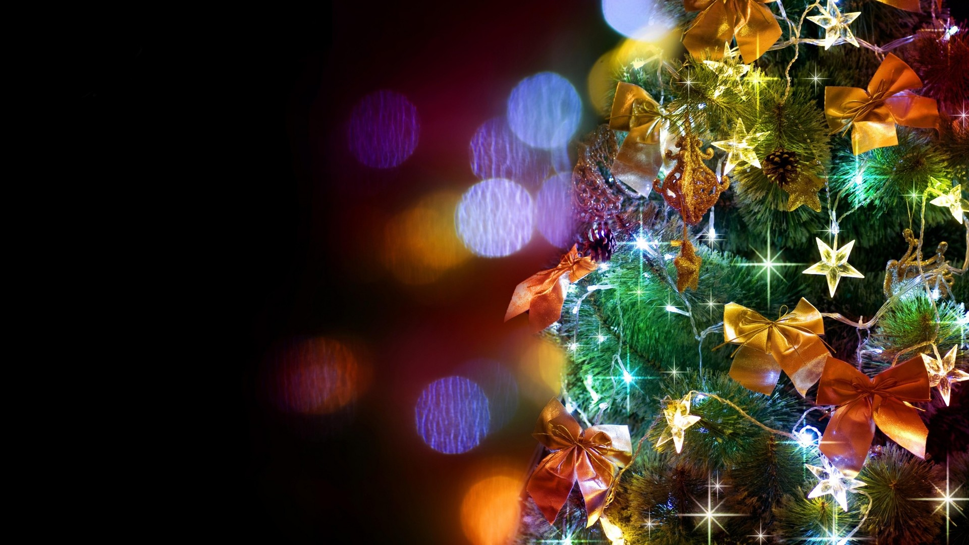 1920x1080 ... christmas tree, garlands, ornaments