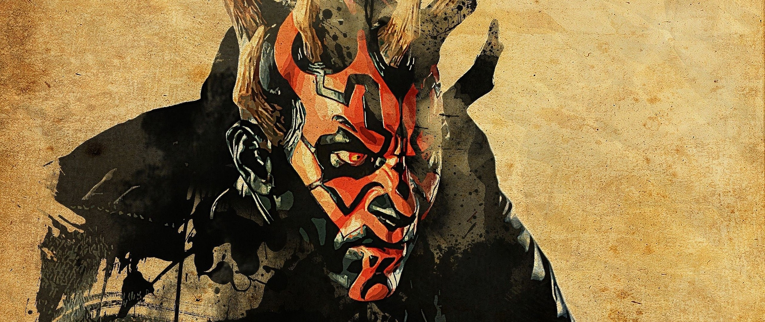 2560x1080  Wallpaper star wars, darth maul, art