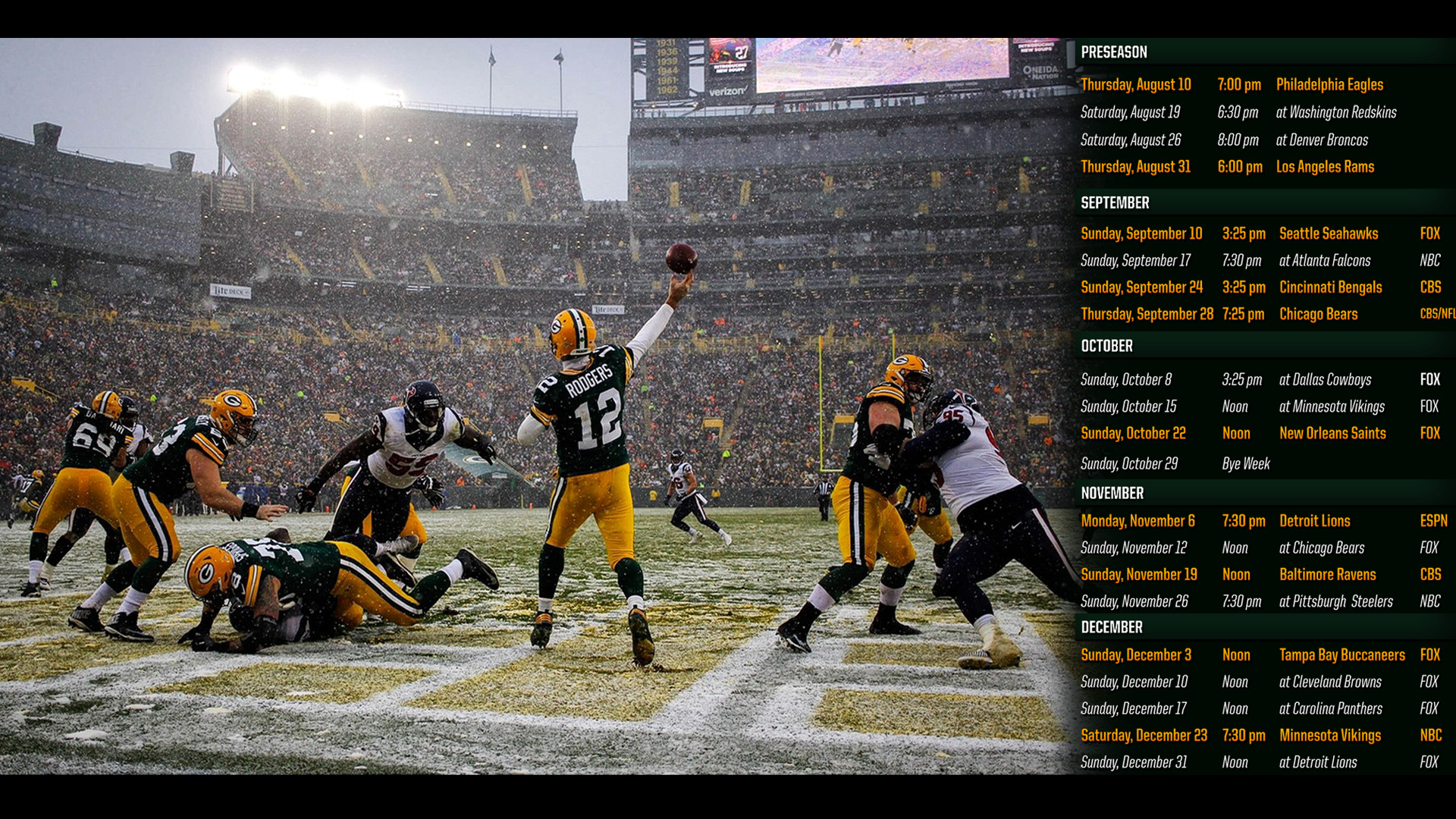 Green Bay Packers Schedule Wallpaper (69+ images)
