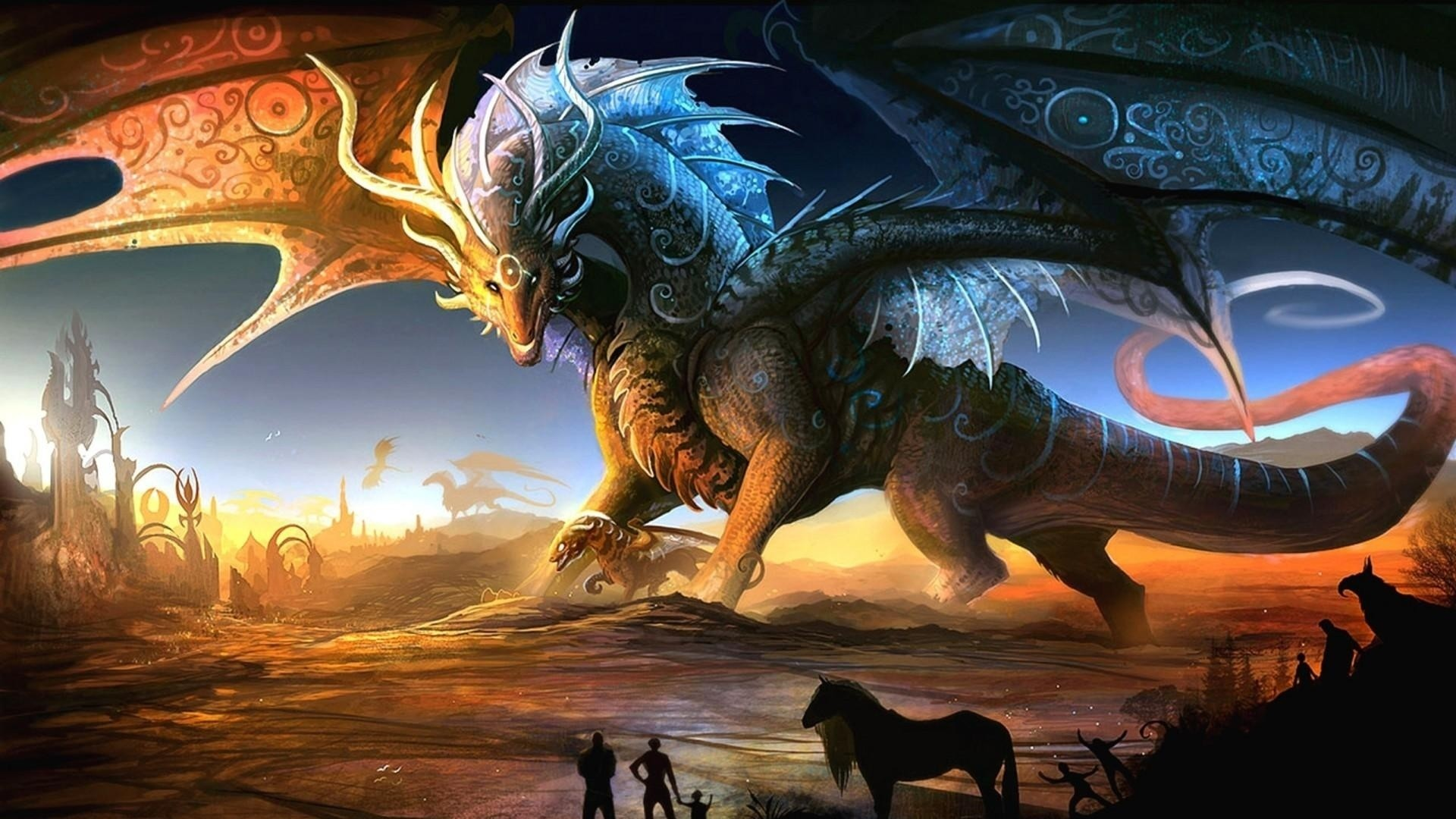 1920x1080 Preview wallpaper dragons, mother, cub, people, animals, sunset