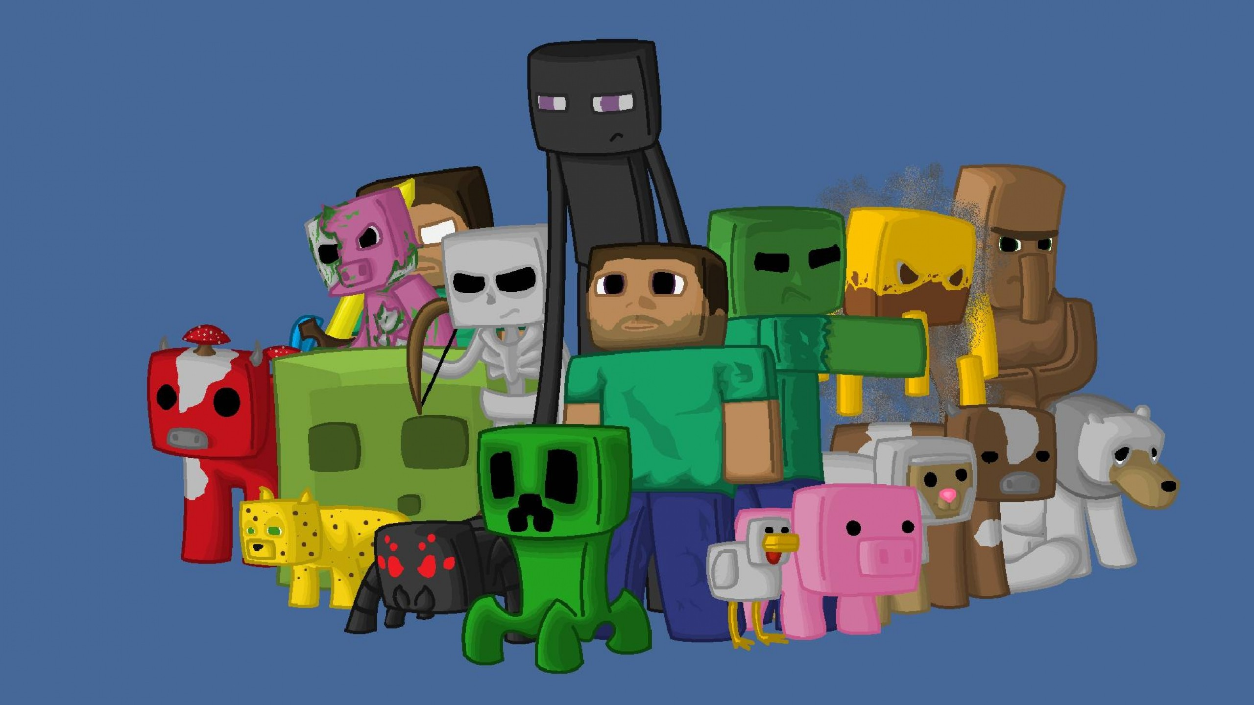 2560x1440  Wallpaper minecraft, characters, game, pixels, java