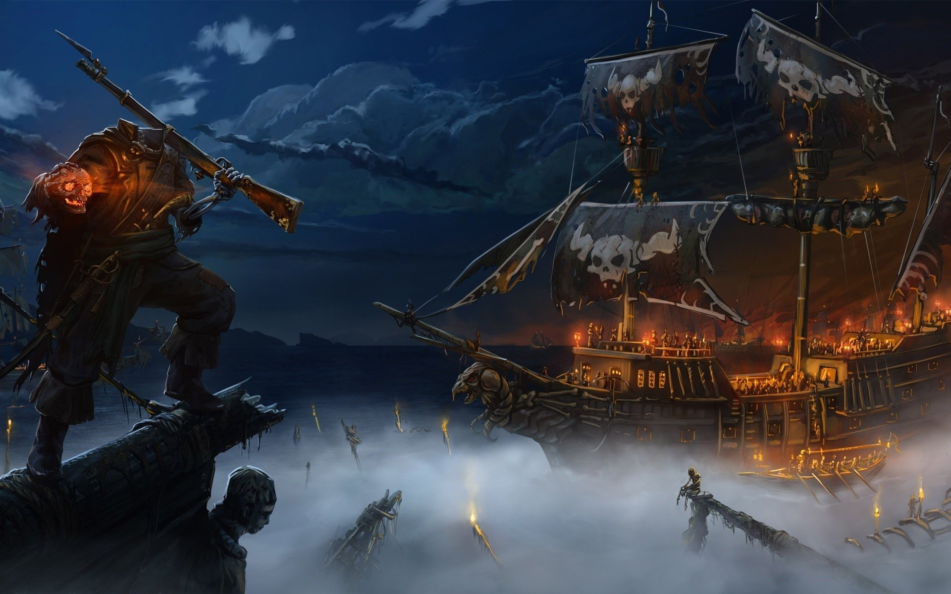 1920x1200 tablet backgrounds, spooky, horror, fire,fantasy, demon, skeleton, pirate ·  ships ...
