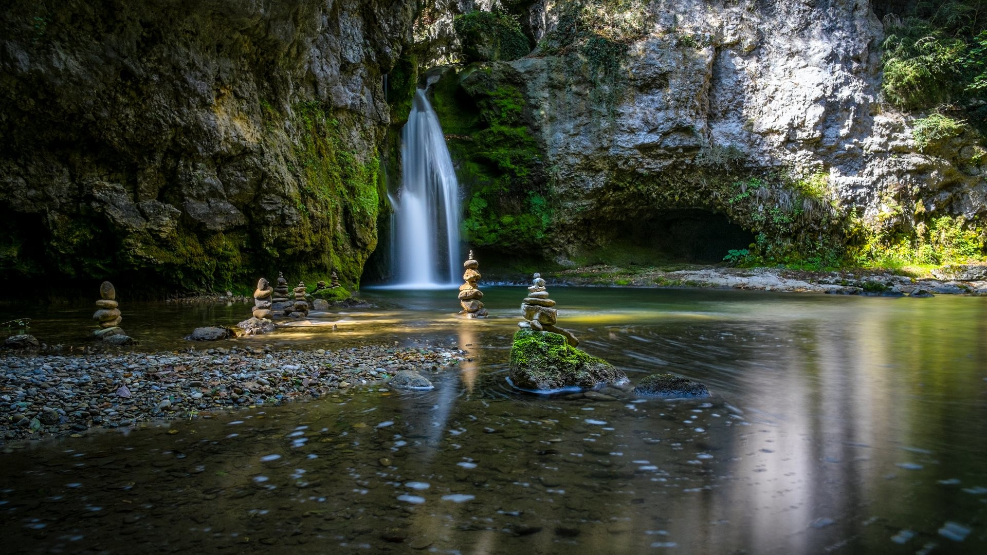 1920x1080 4K HD Wallpaper Zen Garden Waterfalls